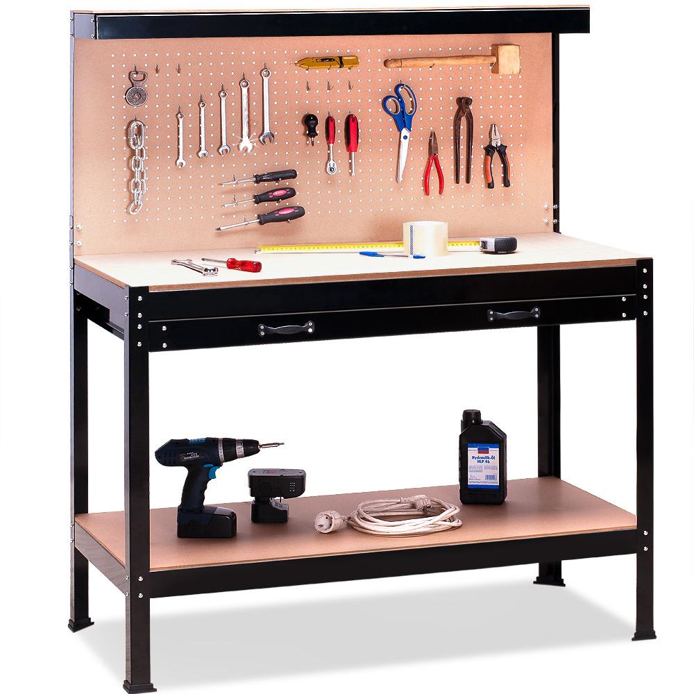 werkbank werktisch arbeitstisch arbeitsplatte lochwand schublade werkstatt werk ebay. Black Bedroom Furniture Sets. Home Design Ideas