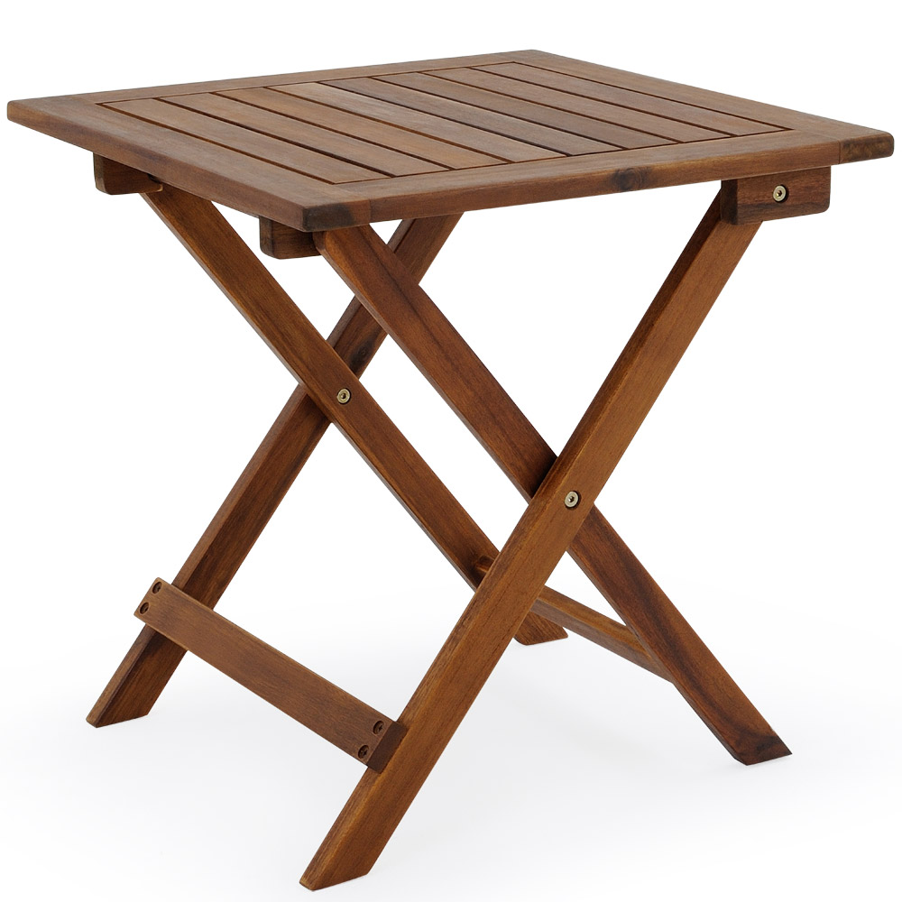 Low snack table tropical acacia wood small bistro coffee side table 46x46cm wood ebay Low wooden coffee table