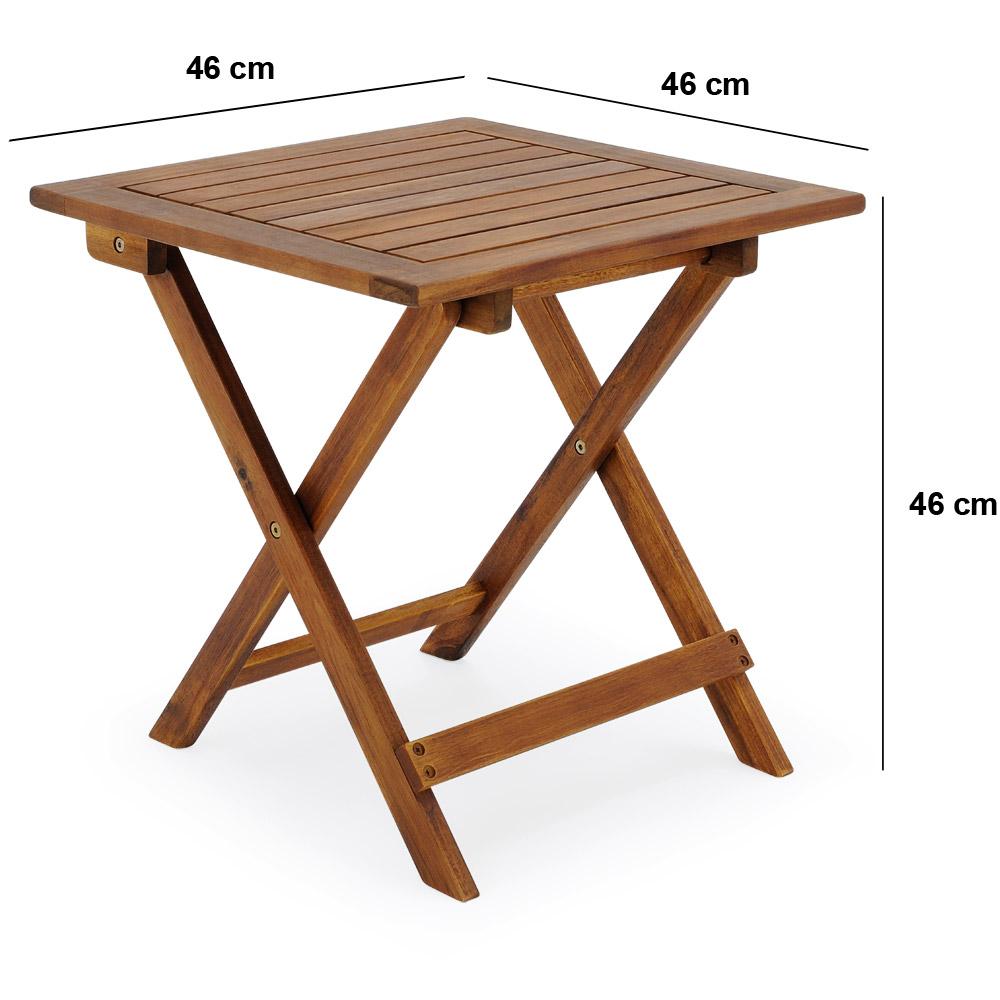 Garden Side Table Coffee Acacia Folding Wooden Snack Drinks Outdoor Summer 46cm Ebay