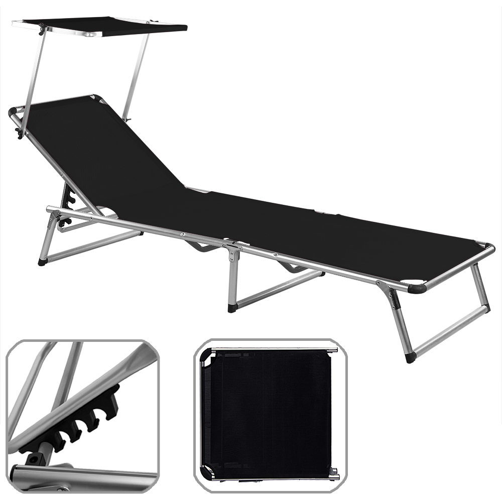 folding sun lounger bed steamer chair sun shade outdoor. Black Bedroom Furniture Sets. Home Design Ideas