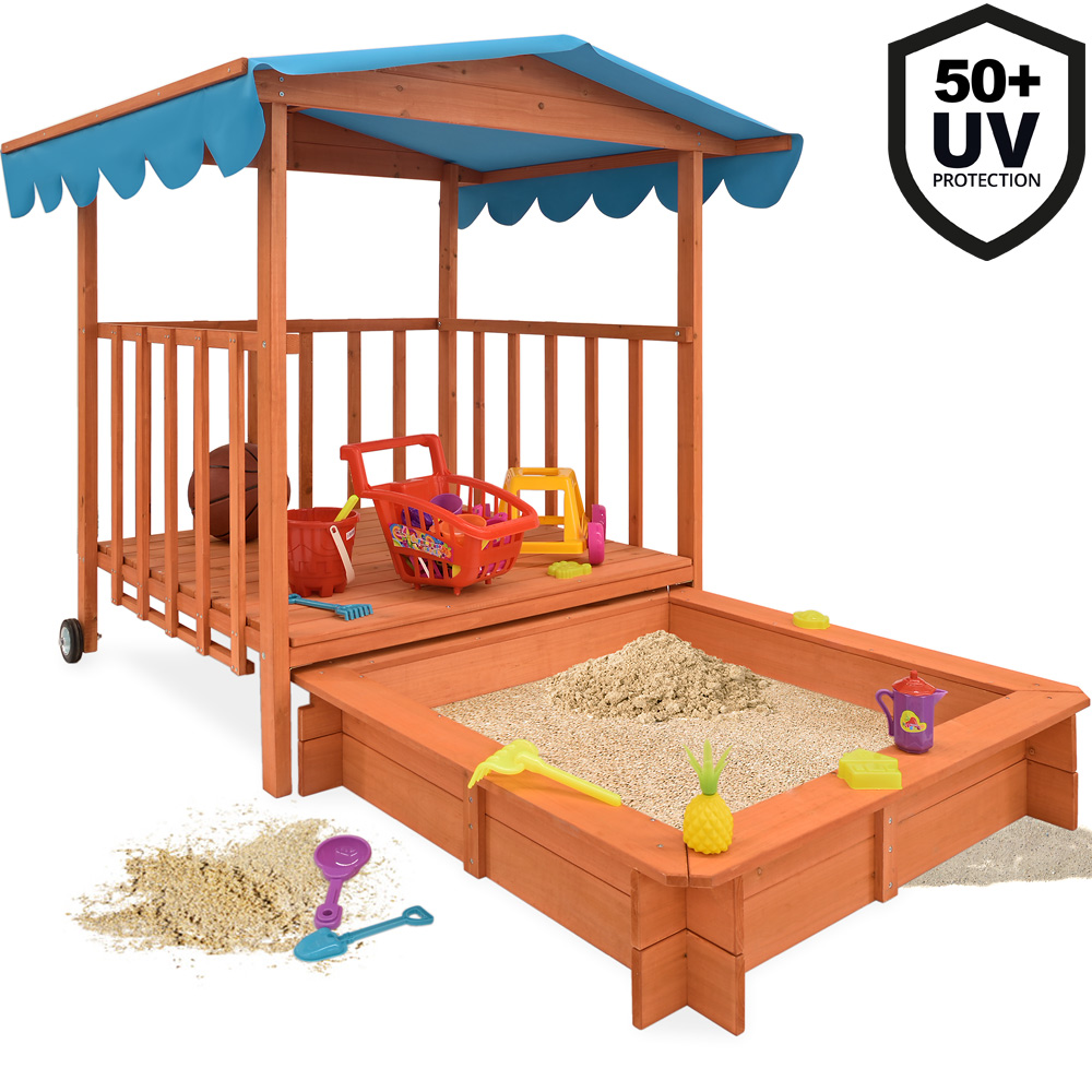 sandkasten mit sitzb nken dach spielhaus 140x140 holz plane sandbox sandkiste d2 ebay. Black Bedroom Furniture Sets. Home Design Ideas