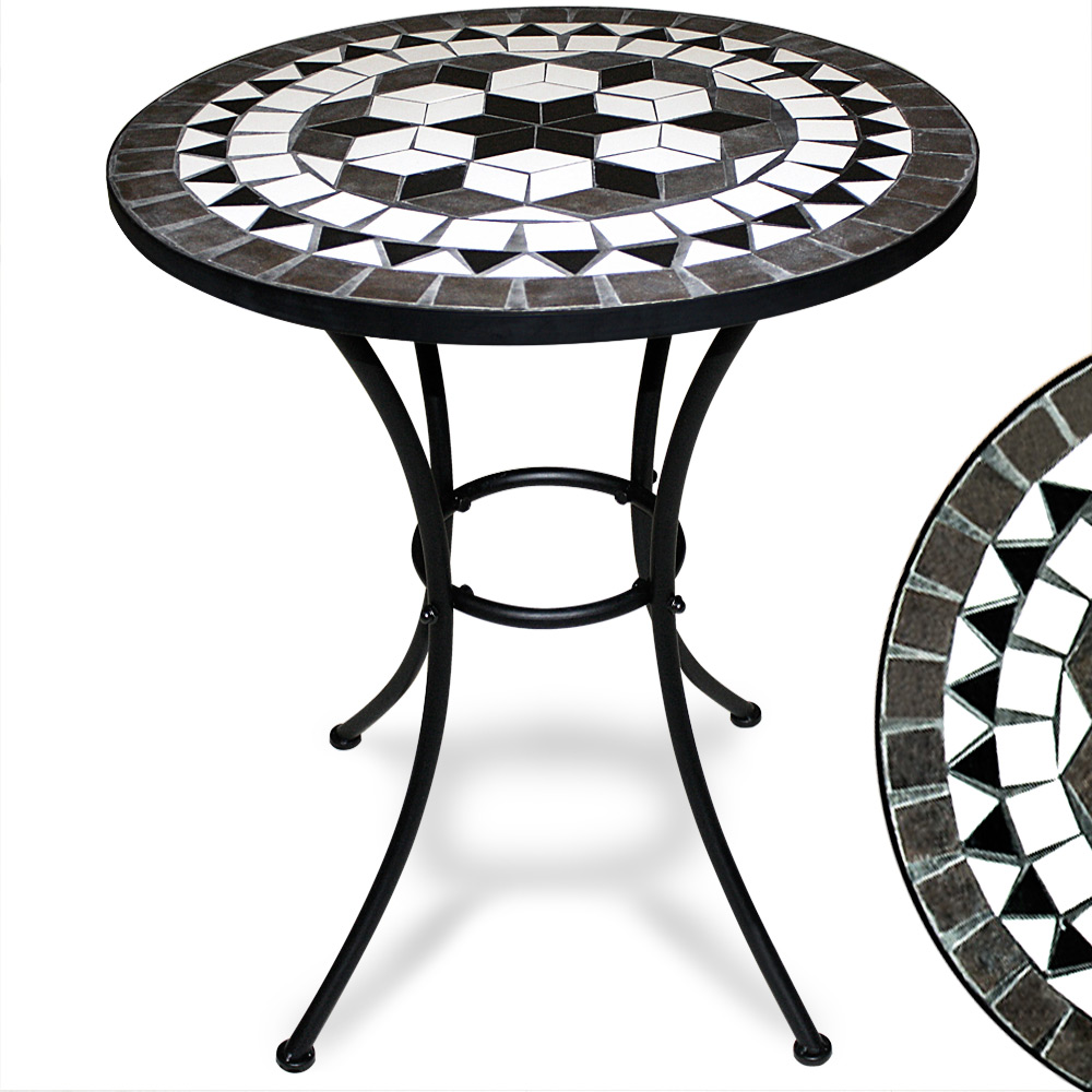 Mosaic Garden Bistro Table Round Marble Outdoor Tables