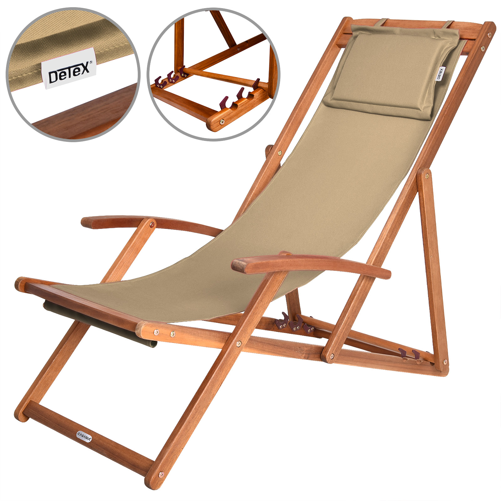 Wooden Folding Garden Deck Chair Sun Bed Acacia Hardwood Canvas Cream Bei