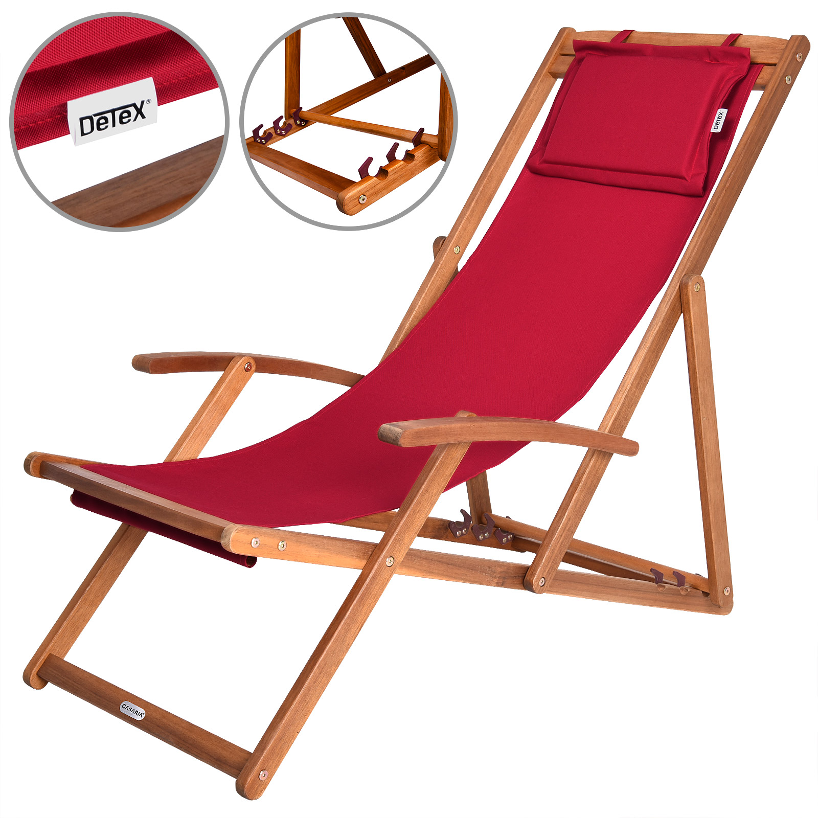 Wooden Folding Deck Chairs Garden Deckchair Furniture Hardwood Chair Cushion Red
