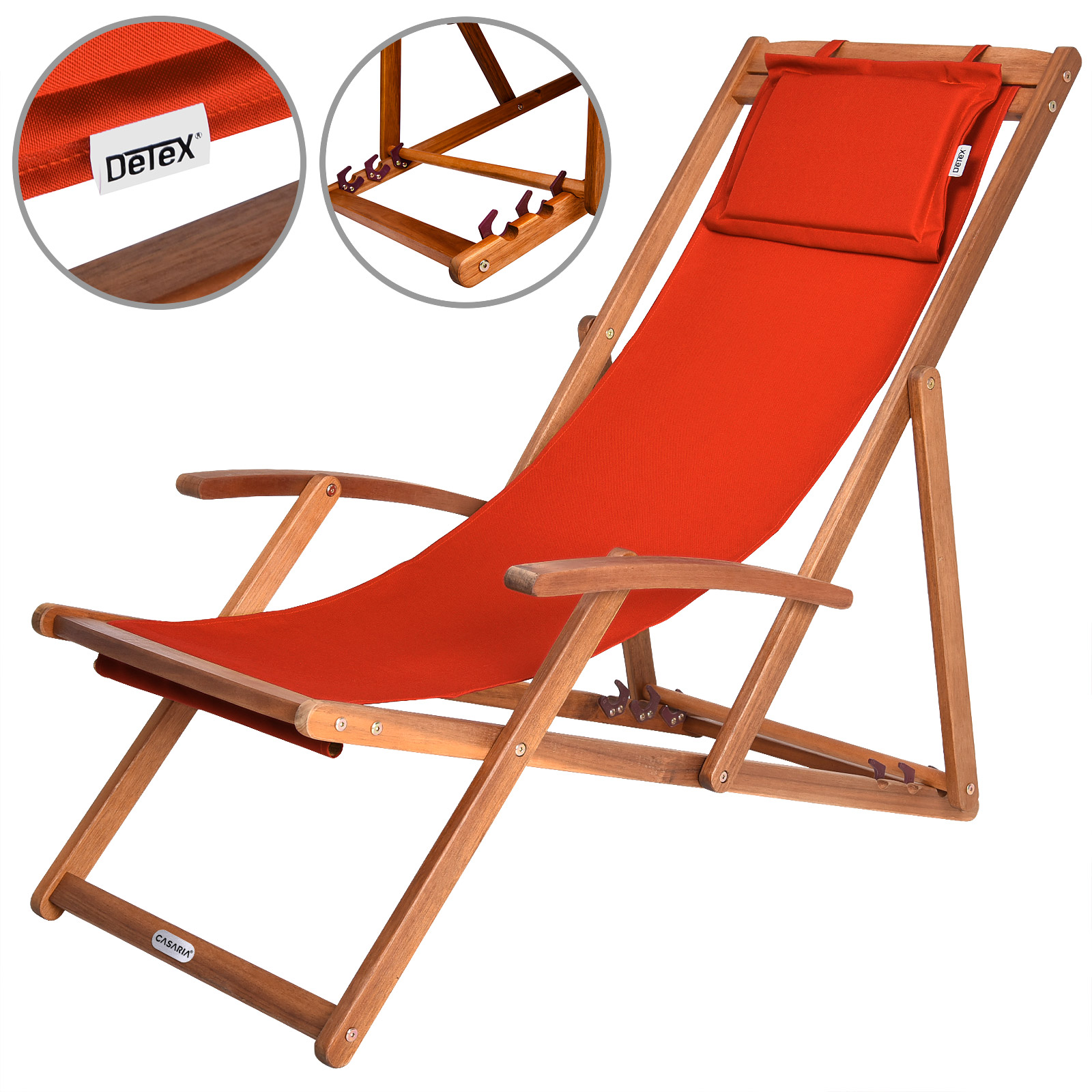 Wooden Folding Deck Chairs Garden Deckchair Furniture Hardwood Cushion Orange