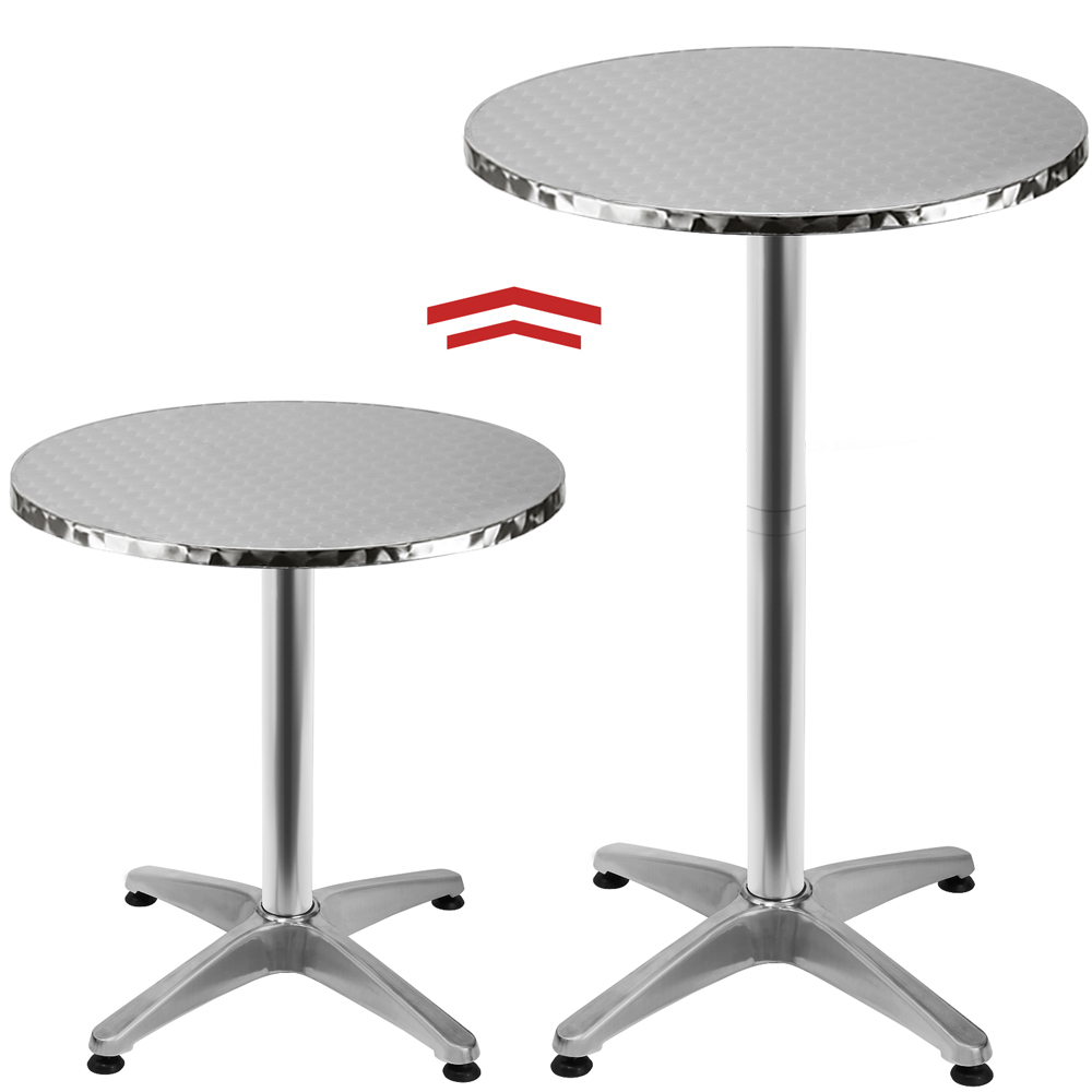 table de bar table haute bistrot aluminium table ronde acier inox ebay. Black Bedroom Furniture Sets. Home Design Ideas