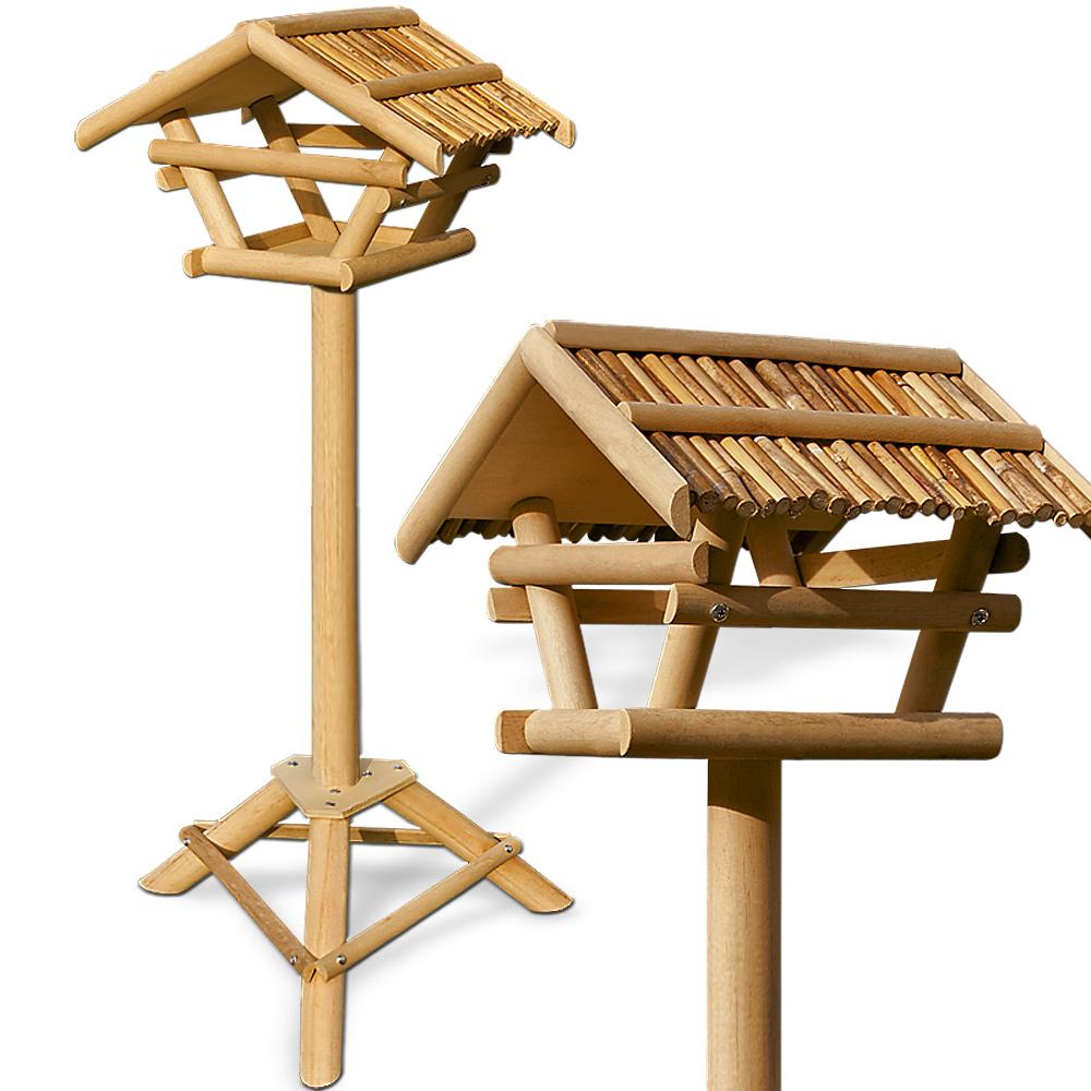 mangeoire perchoir pour oiseaux abri cabane en bambou sur pied 103x50cm ebay. Black Bedroom Furniture Sets. Home Design Ideas