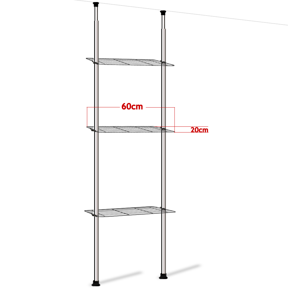 bathroom telescopic rail storage shelf caddy shelving rack unit chrome organiser ebay. Black Bedroom Furniture Sets. Home Design Ideas