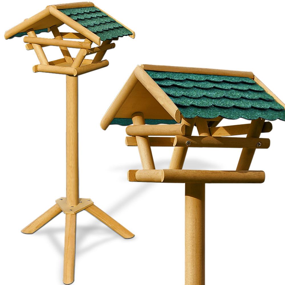 Mangeoire pour oiseaux cabane abri sur pied toit for Mangeoire sur pied pour oiseaux du jardin