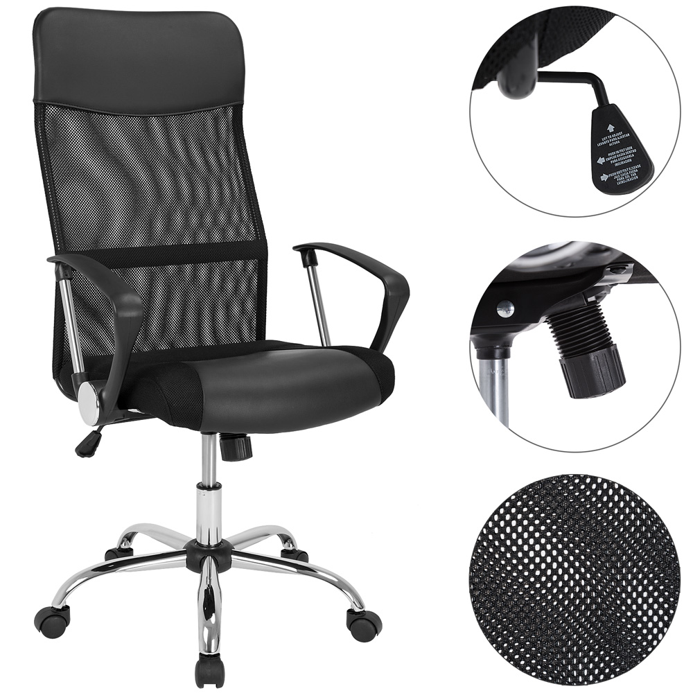 fauteuil chaise de bureau noire inclinable ergonomique. Black Bedroom Furniture Sets. Home Design Ideas