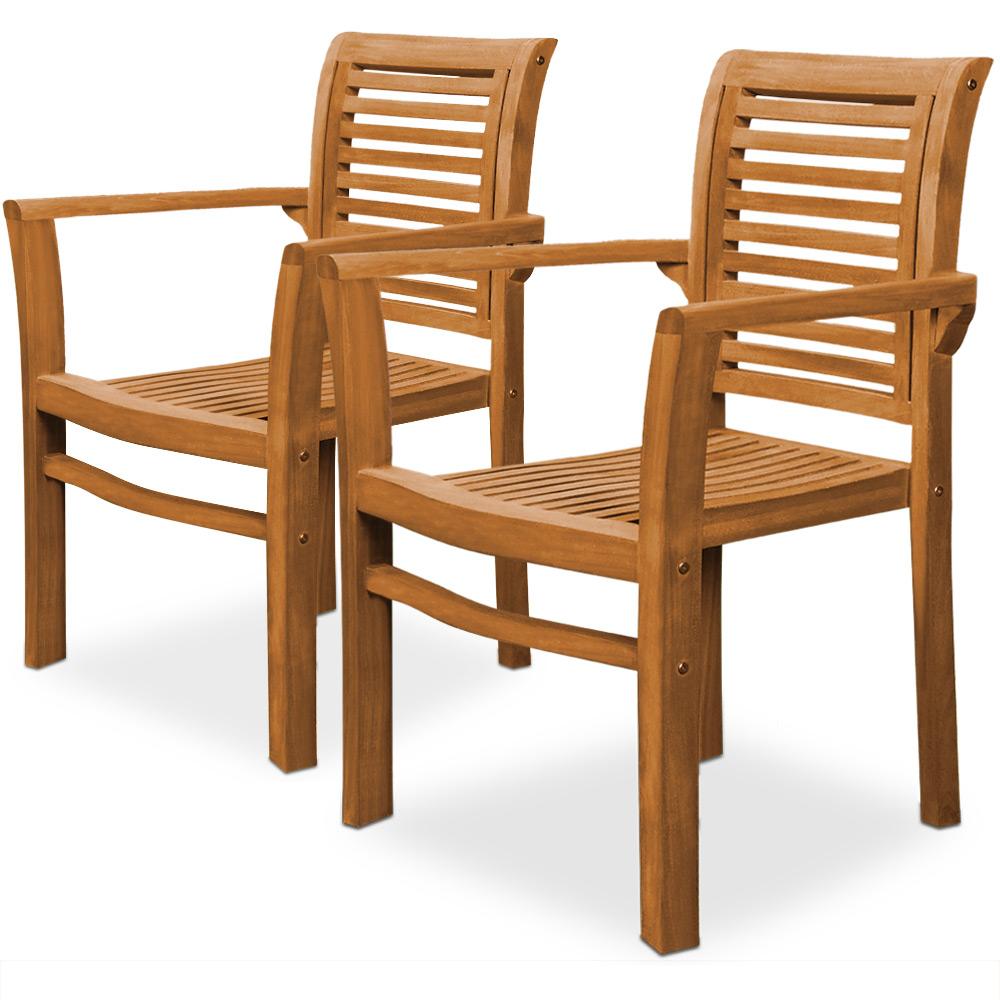 2x teak stuhl govinda sitzm bel holz gartenm bel gartenstuhl garten holzstuhl ebay. Black Bedroom Furniture Sets. Home Design Ideas