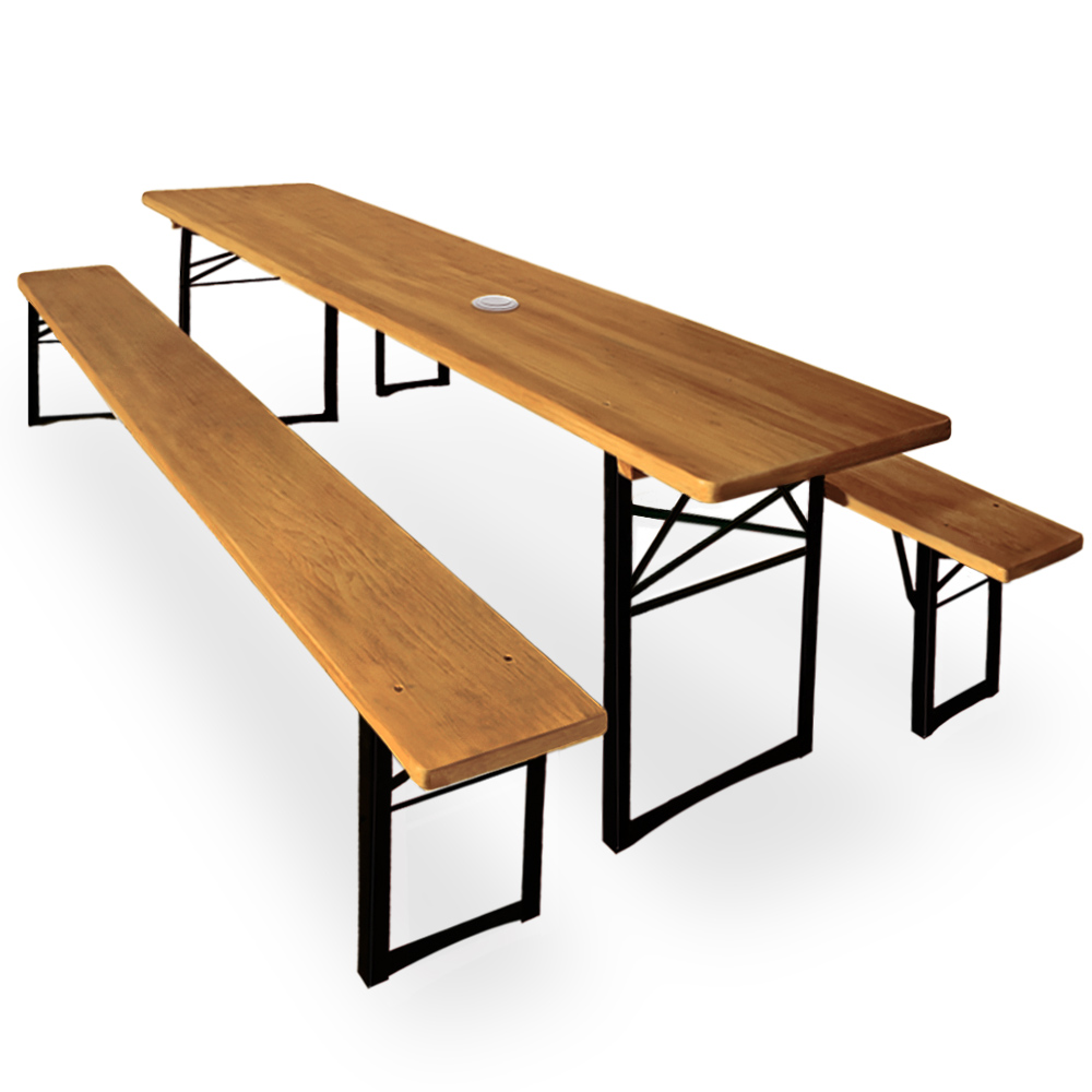 Folding trestle table and benches set with parasol hole for Parasol chauffant de table