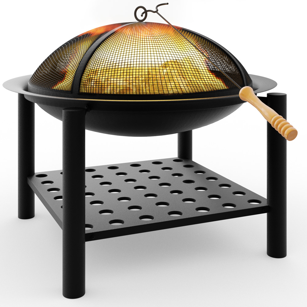 Fire pit bowl garden outdoor firepit basket grill brazier for Brasero de jardin