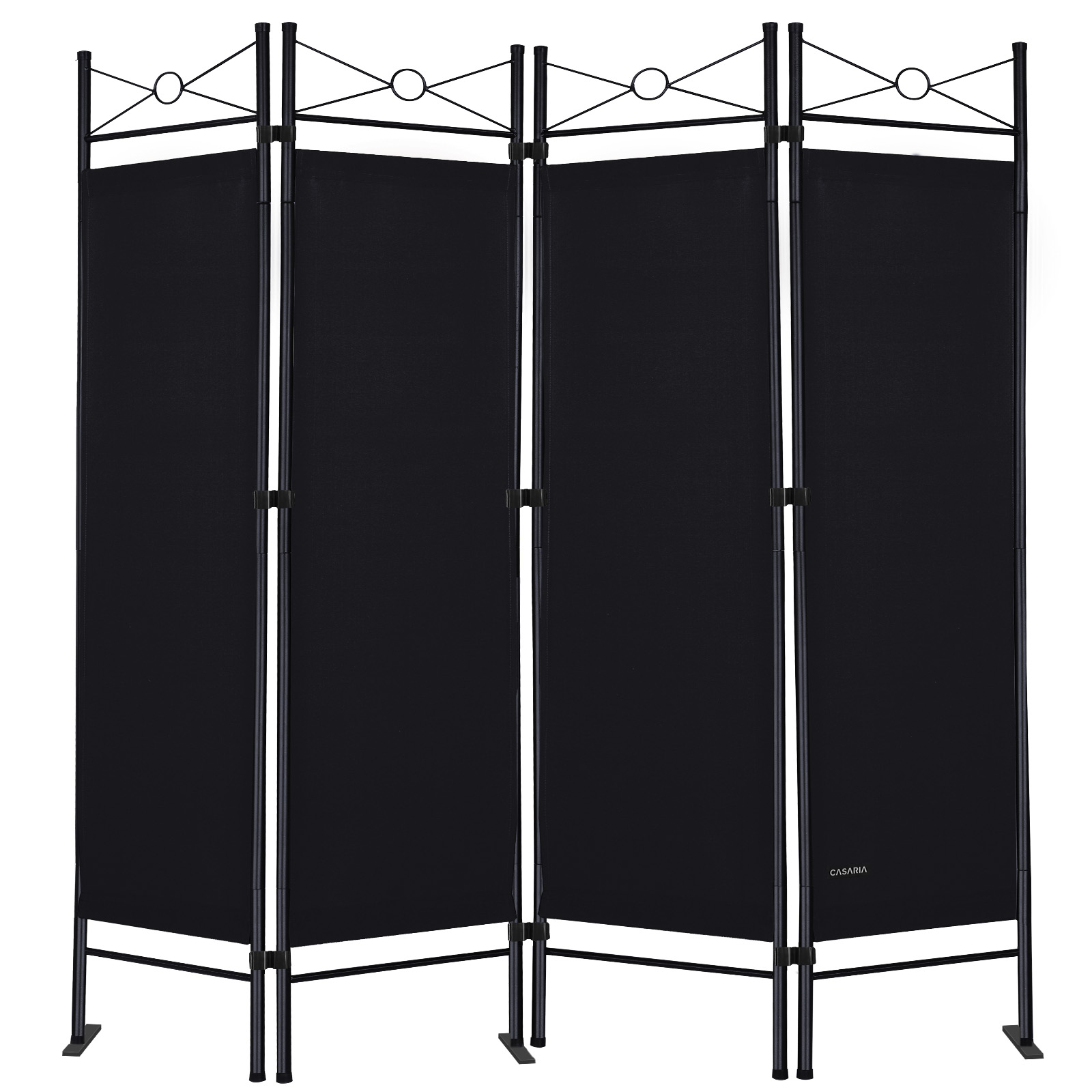 paravent noir 4 panneaux cadre en m tal laqu cloison 180x163cm pare vue ebay. Black Bedroom Furniture Sets. Home Design Ideas