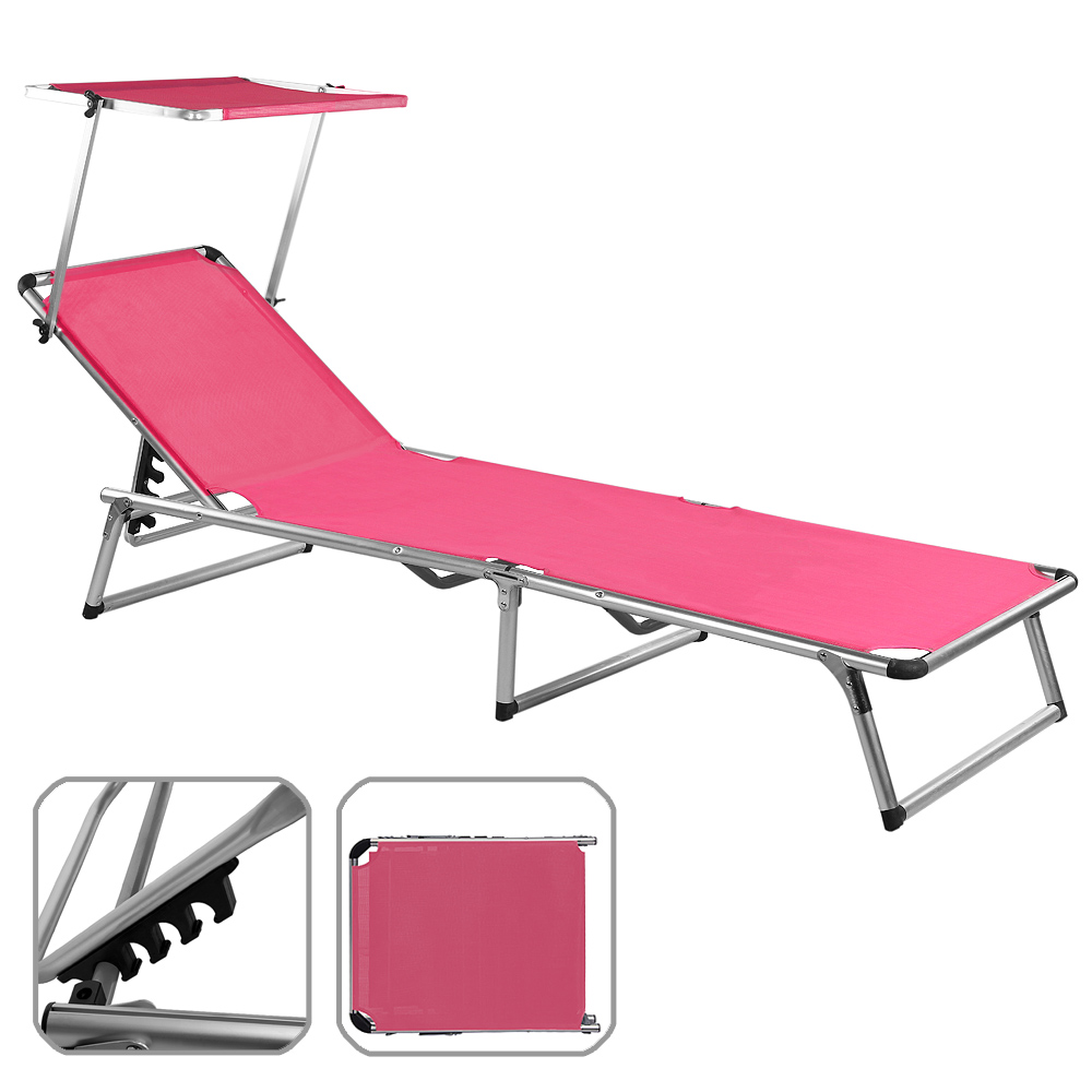 Folding sun lounger bed steamer chair sun shade outdoor for Chaise longue bain de soleil pliable