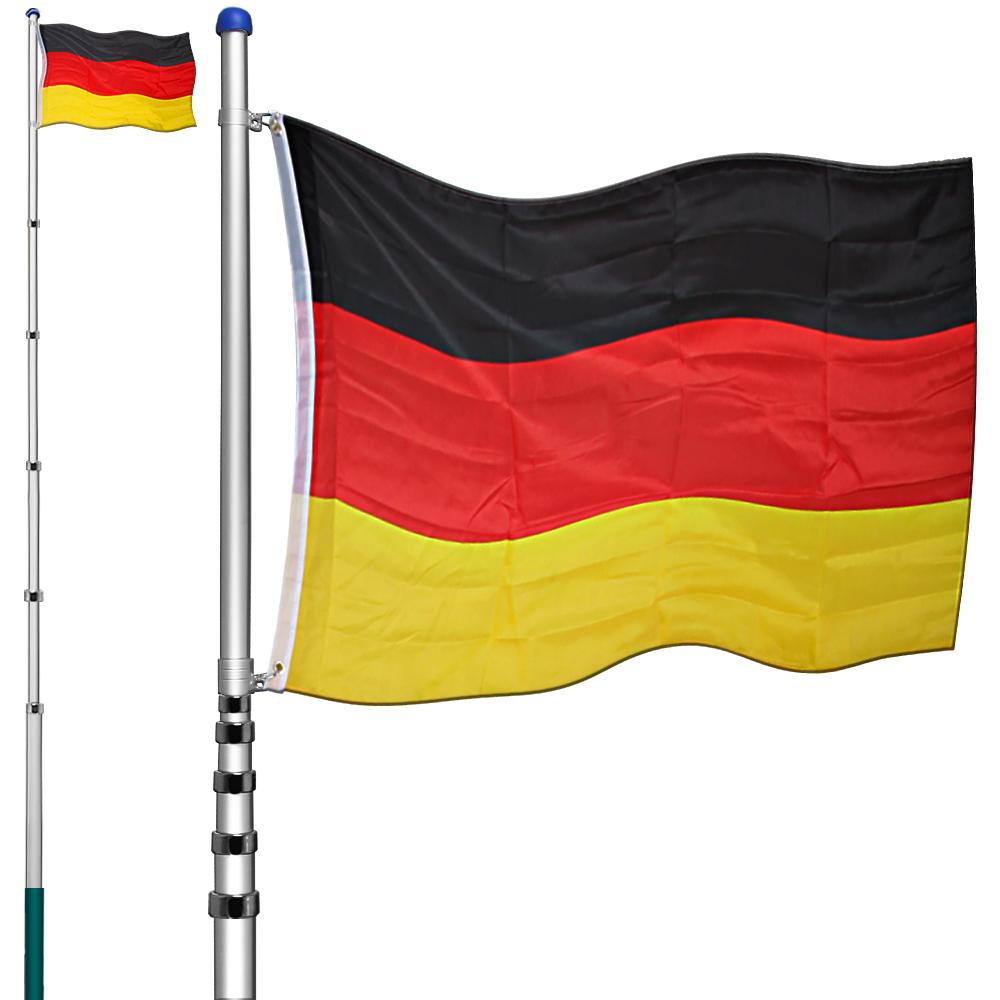 alu teleskop fahnenmast 6 30m deutschlandfah ne flaggenmast fahnenstange fahne ebay. Black Bedroom Furniture Sets. Home Design Ideas
