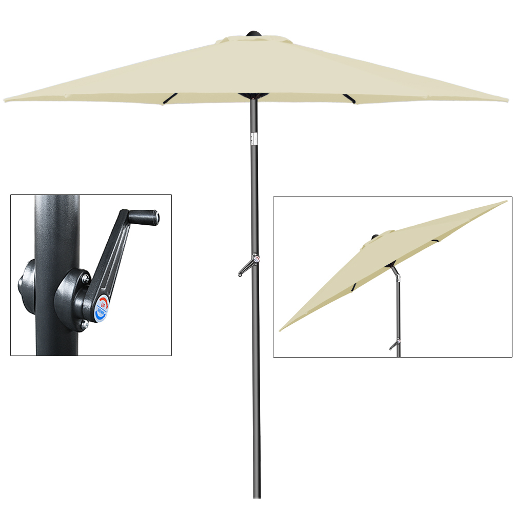 alu sonnenschirm 2m kurbel schirm marktschirm gartenschirm ampelschirm hg ebay. Black Bedroom Furniture Sets. Home Design Ideas