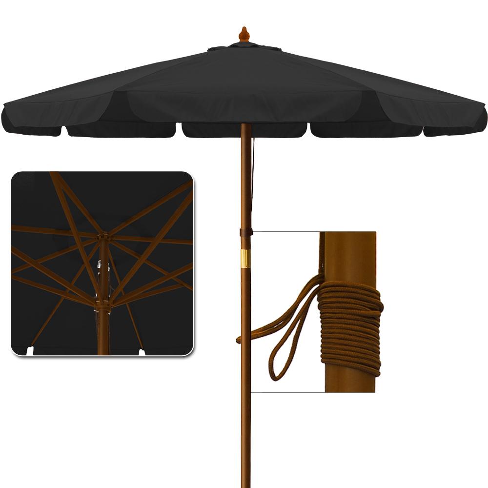 sonnenschirm holz 3 5m schirm sonnenschutz marktschirm ampelschirm gartenschirm ebay. Black Bedroom Furniture Sets. Home Design Ideas