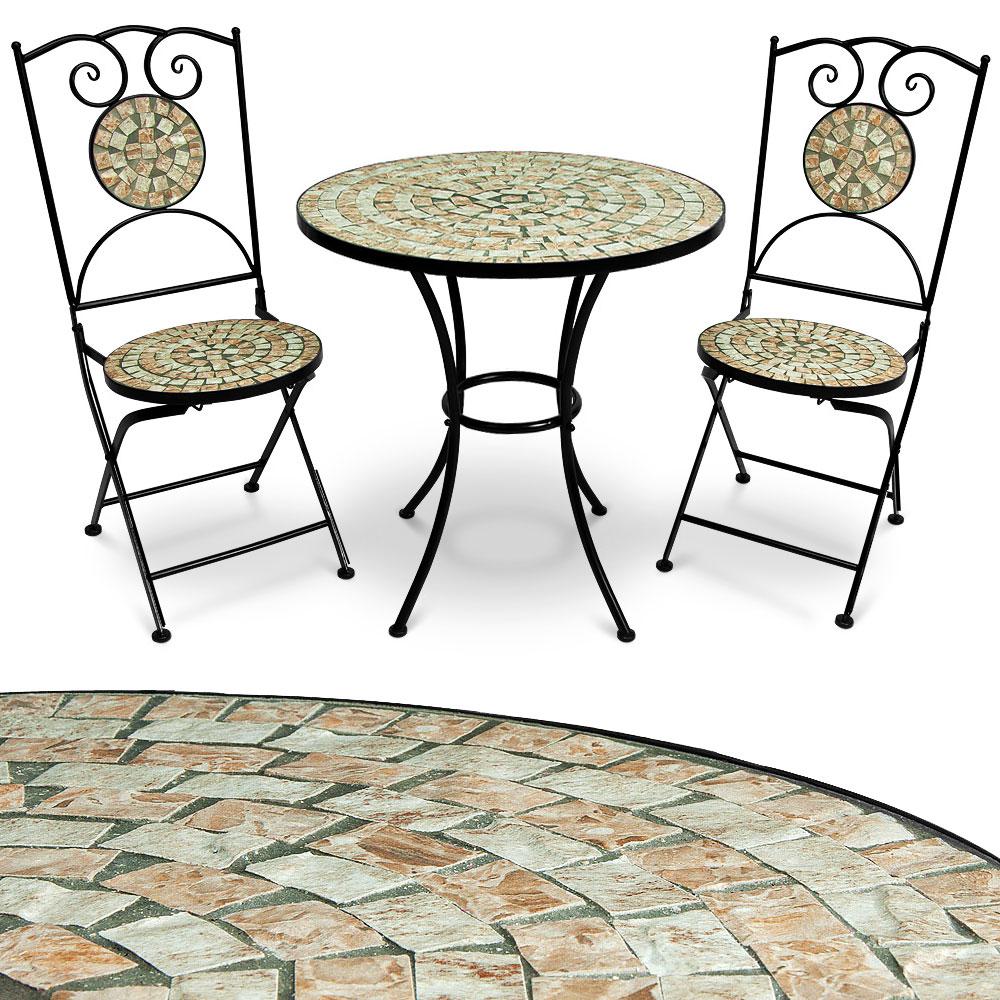 3tlg mosaik garnitur sitzgruppe tisch stuhl gartentisch gartenm bel bistrotisch ebay. Black Bedroom Furniture Sets. Home Design Ideas