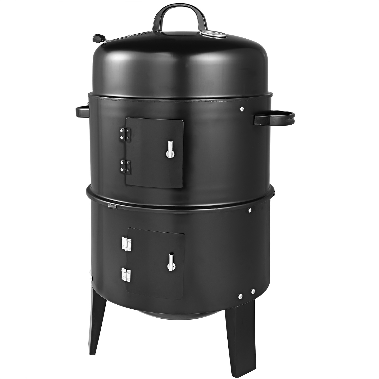 bbq barbecue smoker round smoking and grilling with thermometer garden ebay. Black Bedroom Furniture Sets. Home Design Ideas