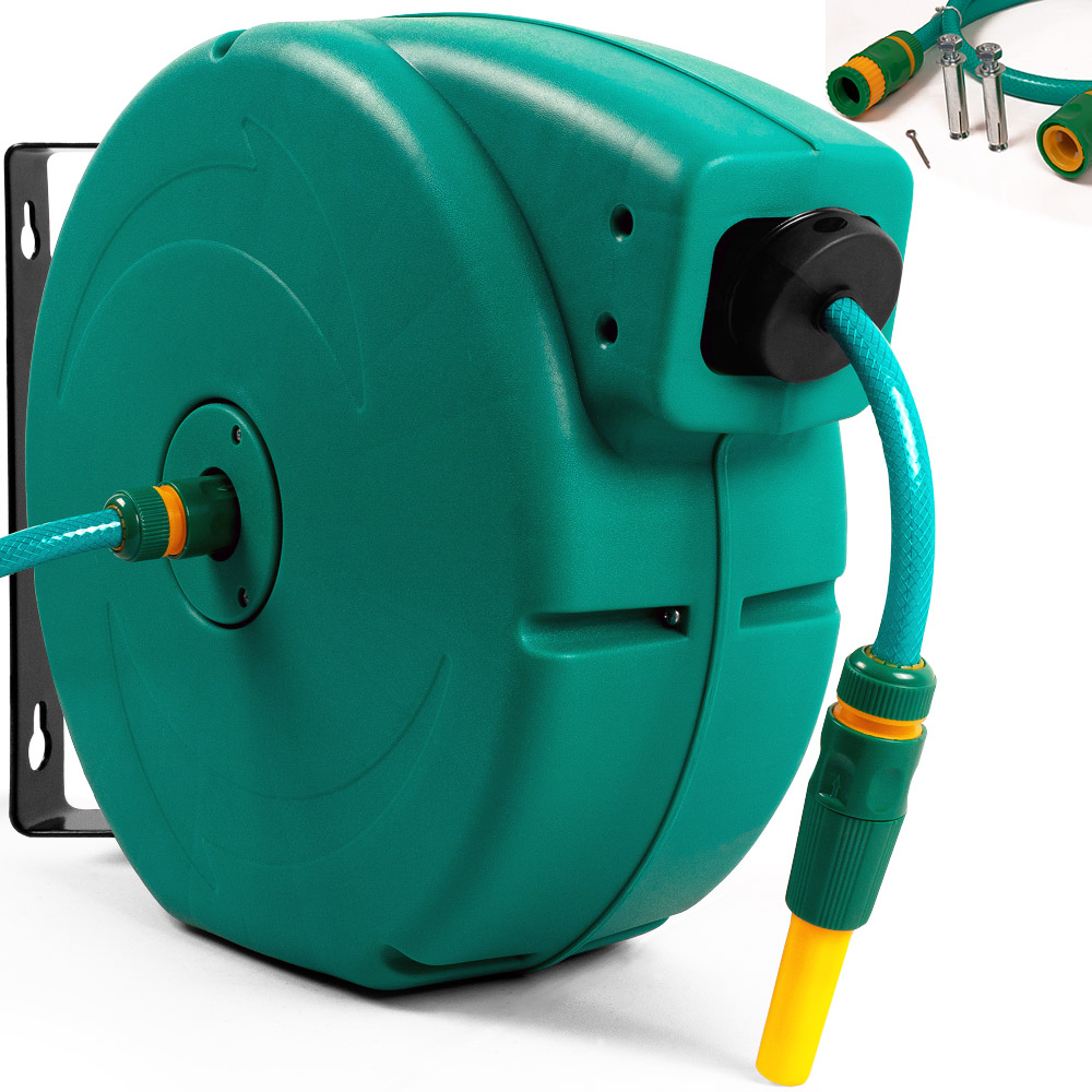 water hose with a garden hose reel and retractor 20m