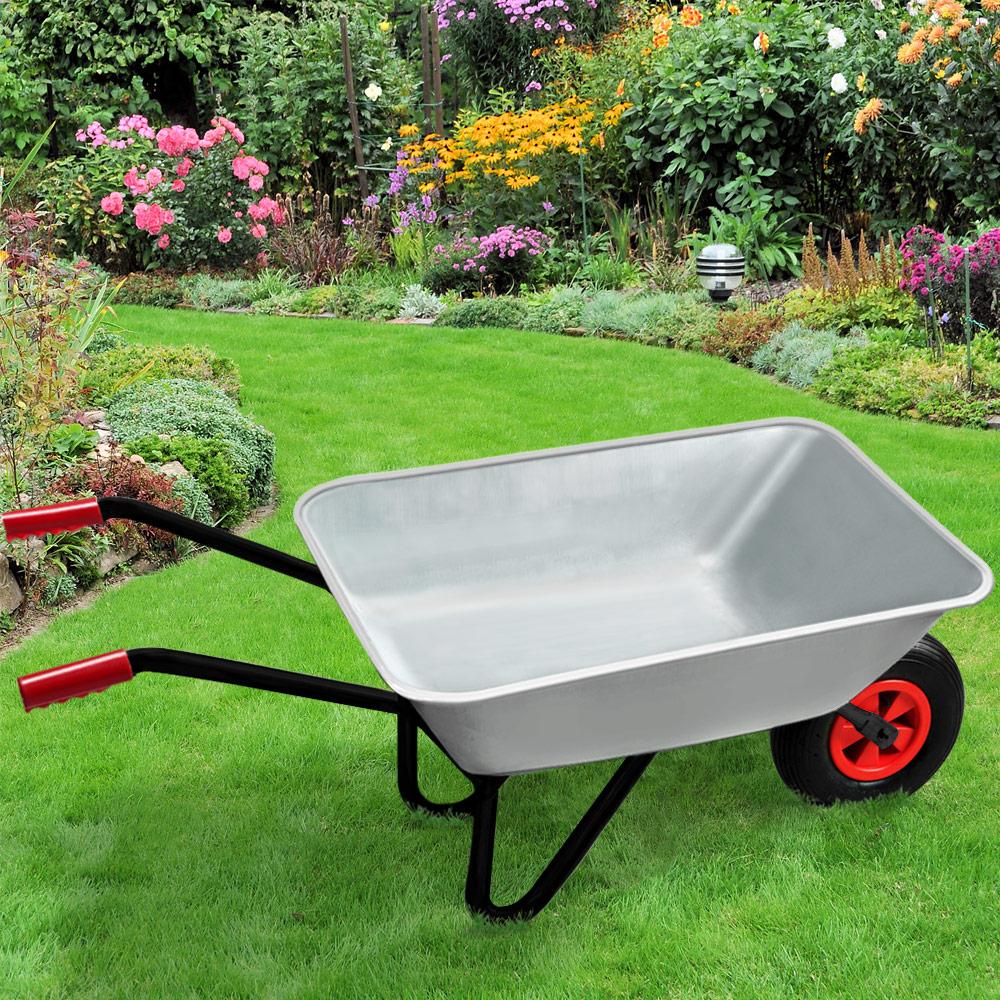 Brouette de jardin remorque chariot de transport m tal galvanis 80l pneumatique ebay - Brouette de jardin plastique ...
