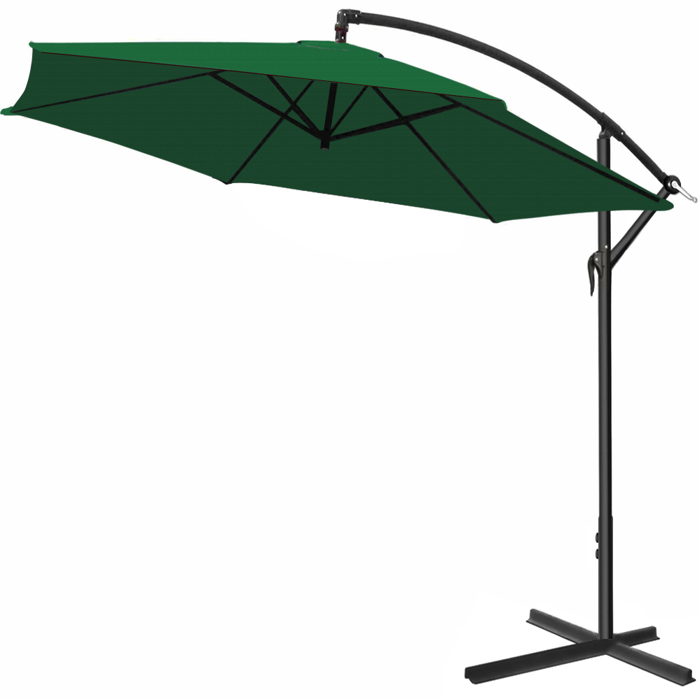 Huge parasol with hand crank 300cm garden sunshade for Parasol rectangulaire inclinable castorama