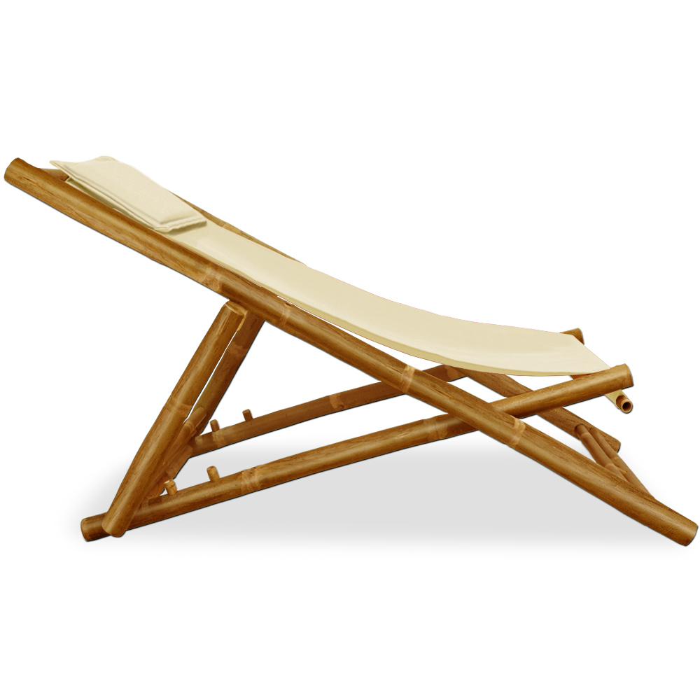 Wooden folding deck chairs bamboo garden deckchair furniture cushion beige ch