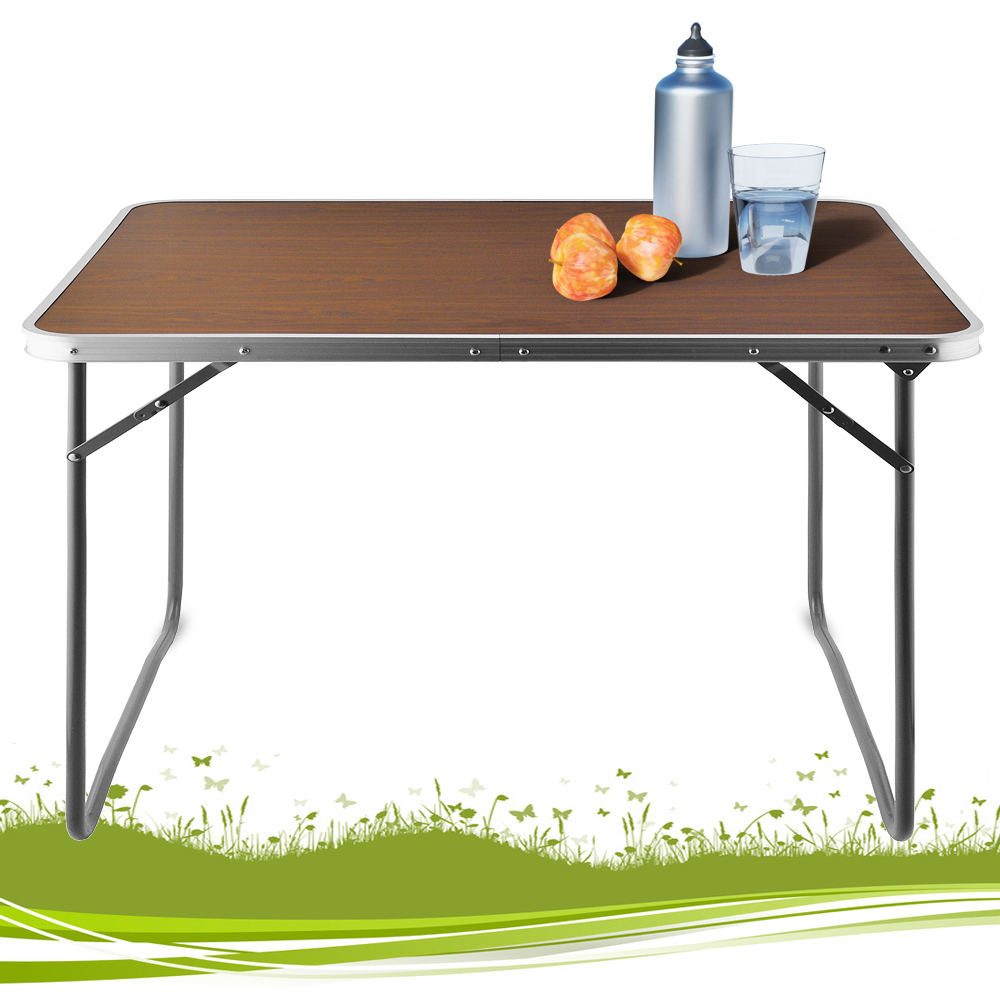 folding camping table portable dining table trestle wood design 80x60x70cm mdf ebay. Black Bedroom Furniture Sets. Home Design Ideas