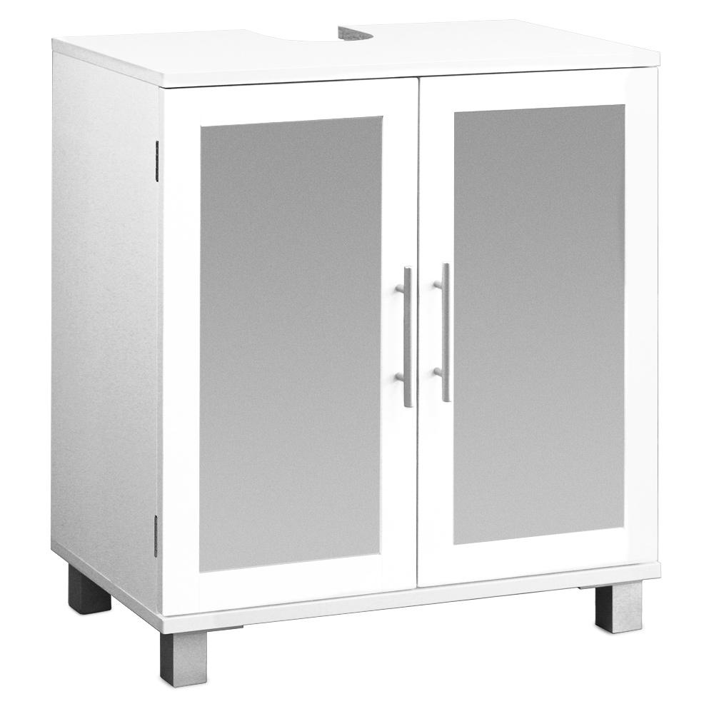 meuble sous lavabo avec 2 portes et verre givr meuble salle de bain tag re ebay. Black Bedroom Furniture Sets. Home Design Ideas