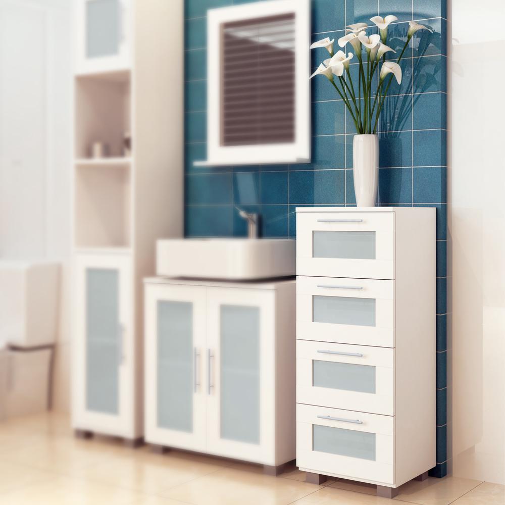 Under Sink Bathroom Storage Unit Cabinet 3 Drawers White