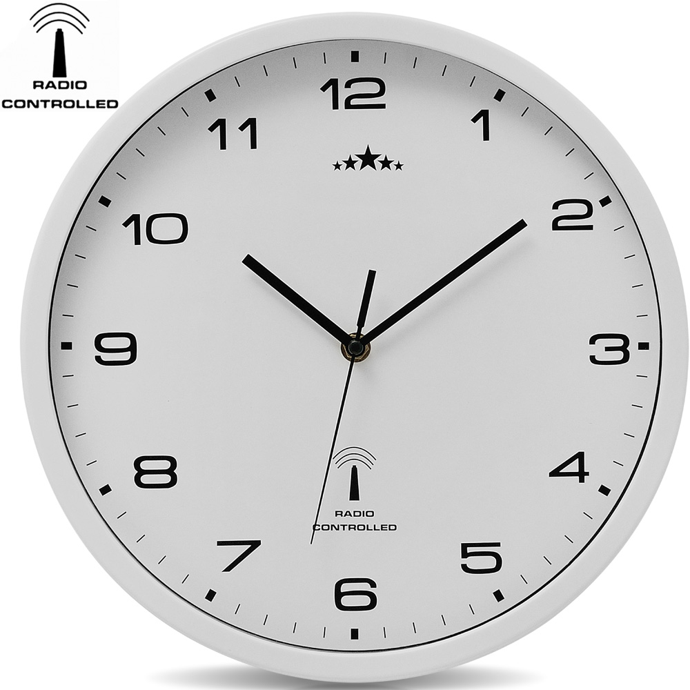 horloge murale blanche radio pilot e changement heure automatique 31cm. Black Bedroom Furniture Sets. Home Design Ideas