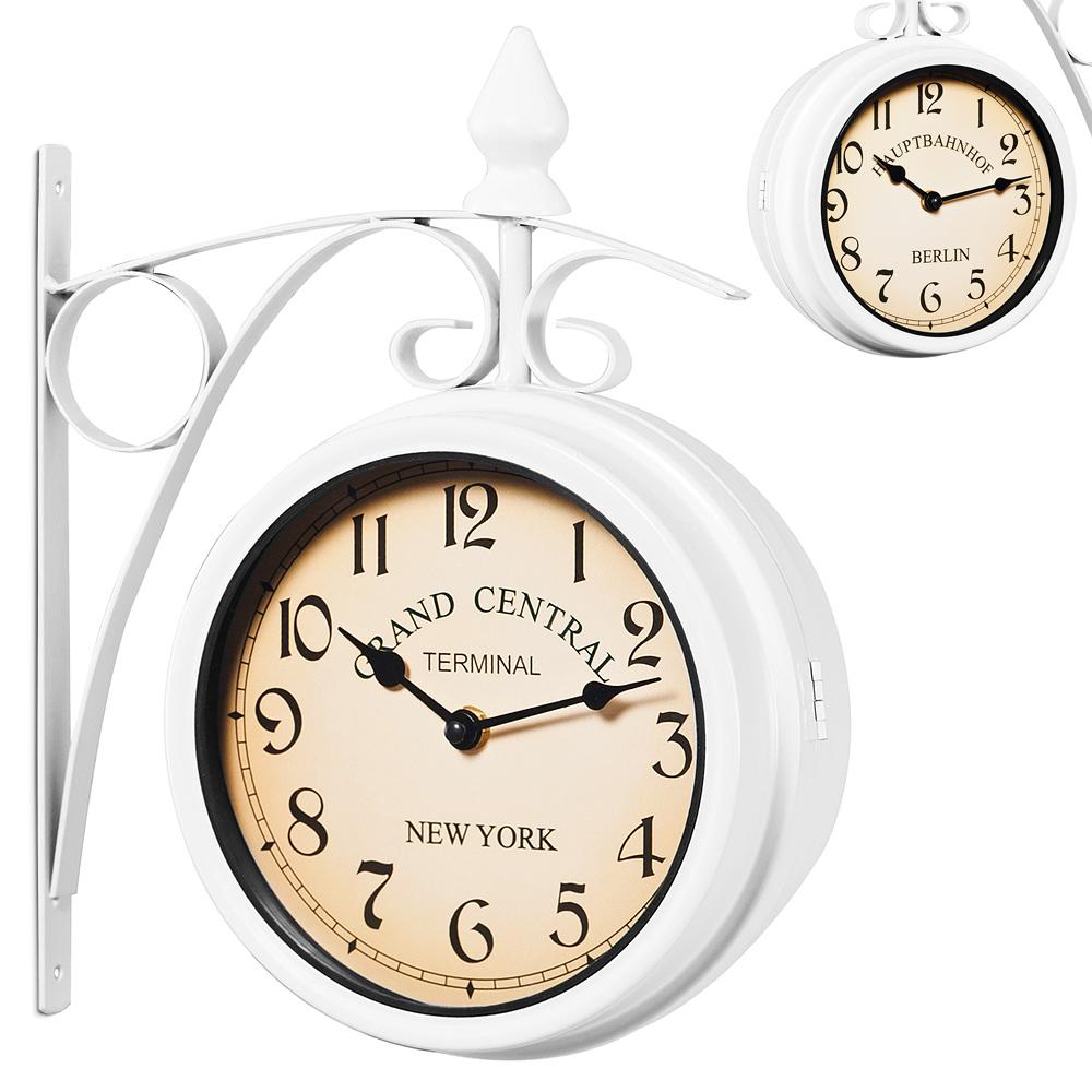 two sided train station wall clock white vintage design quartz wall clock ebay. Black Bedroom Furniture Sets. Home Design Ideas