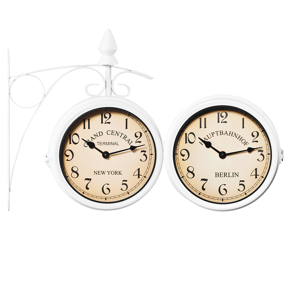 Two sided train station wall clock white losheim am see for Train station style wall clock