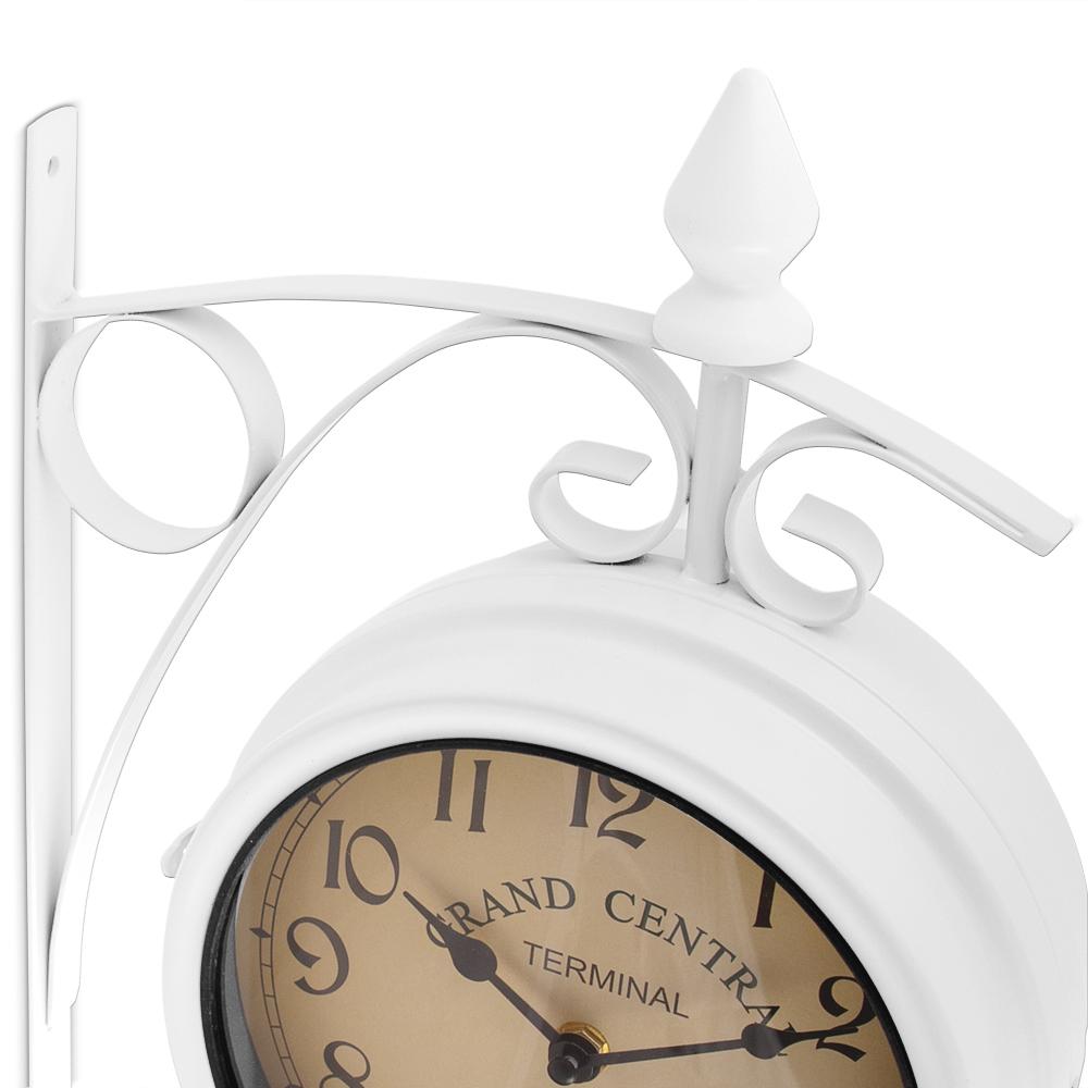 Horloge murale blanche double sens horloge design classique r tro double heure ebay for Horloge blanche design
