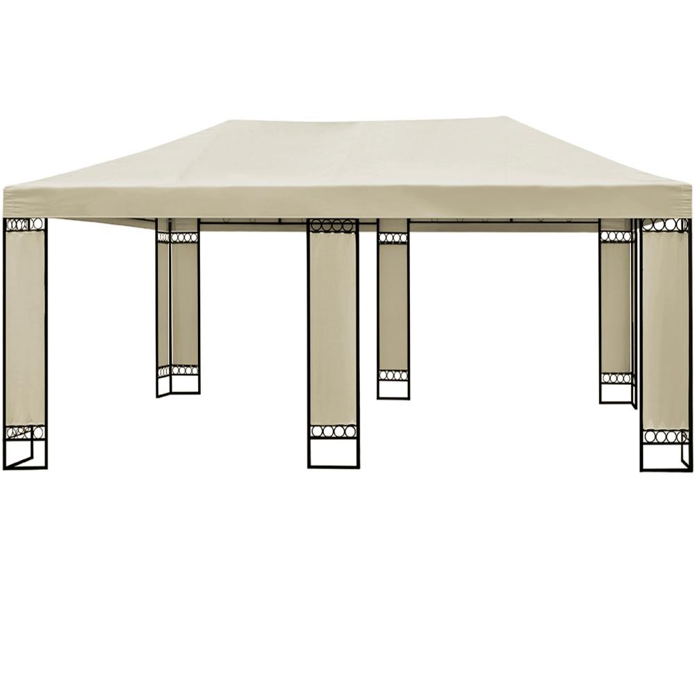 doppel pavillon 4x6m metall creme partyzelt gartenzelt festzelt pavillon zelt. Black Bedroom Furniture Sets. Home Design Ideas