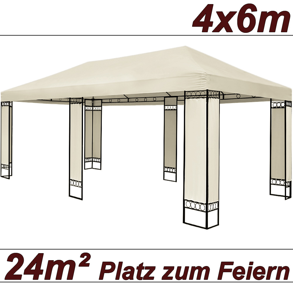 doppel pavillon 4x6m metall creme partyzelt gartenzelt festzelt pavillon zelt ebay. Black Bedroom Furniture Sets. Home Design Ideas