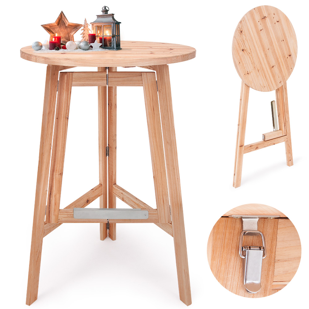 high table folding bistro table foldable bar table wooden high garden table ebay. Black Bedroom Furniture Sets. Home Design Ideas