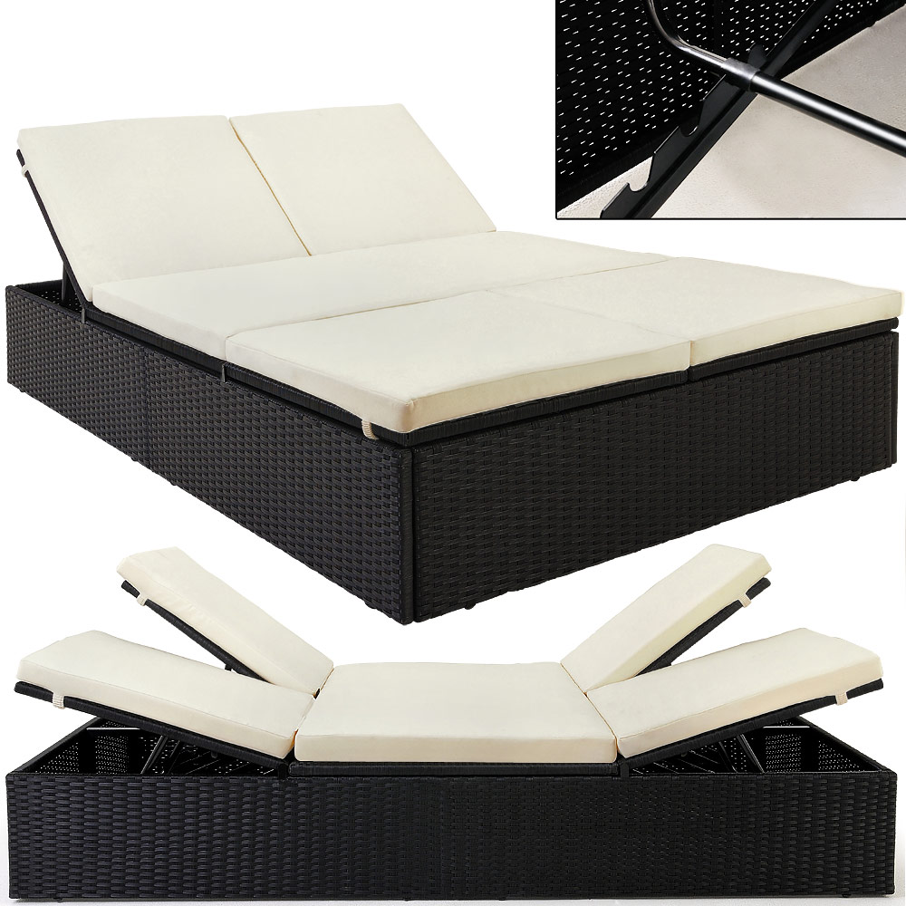 garden double bed rattan black beige double couch sun bed deck chair lounger ebay. Black Bedroom Furniture Sets. Home Design Ideas