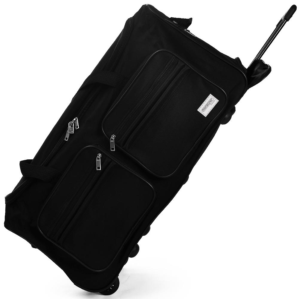 gro e reisetasche 100 l trolley 2 rollen sporttasche reisekoffer tasche schwarz ebay. Black Bedroom Furniture Sets. Home Design Ideas