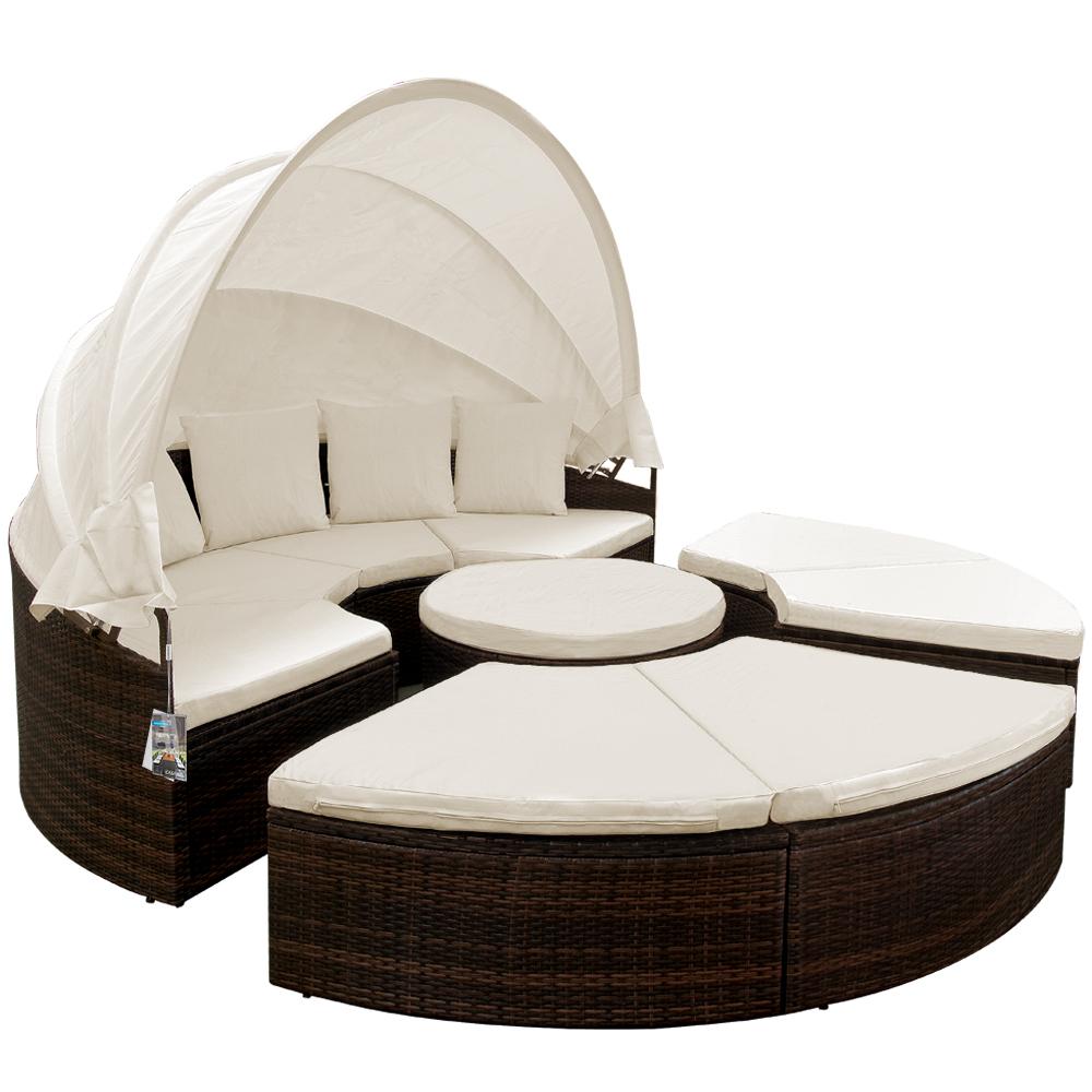 Poly rattan garden day bed lounge sun folding canopy for Sofa rattan jardin
