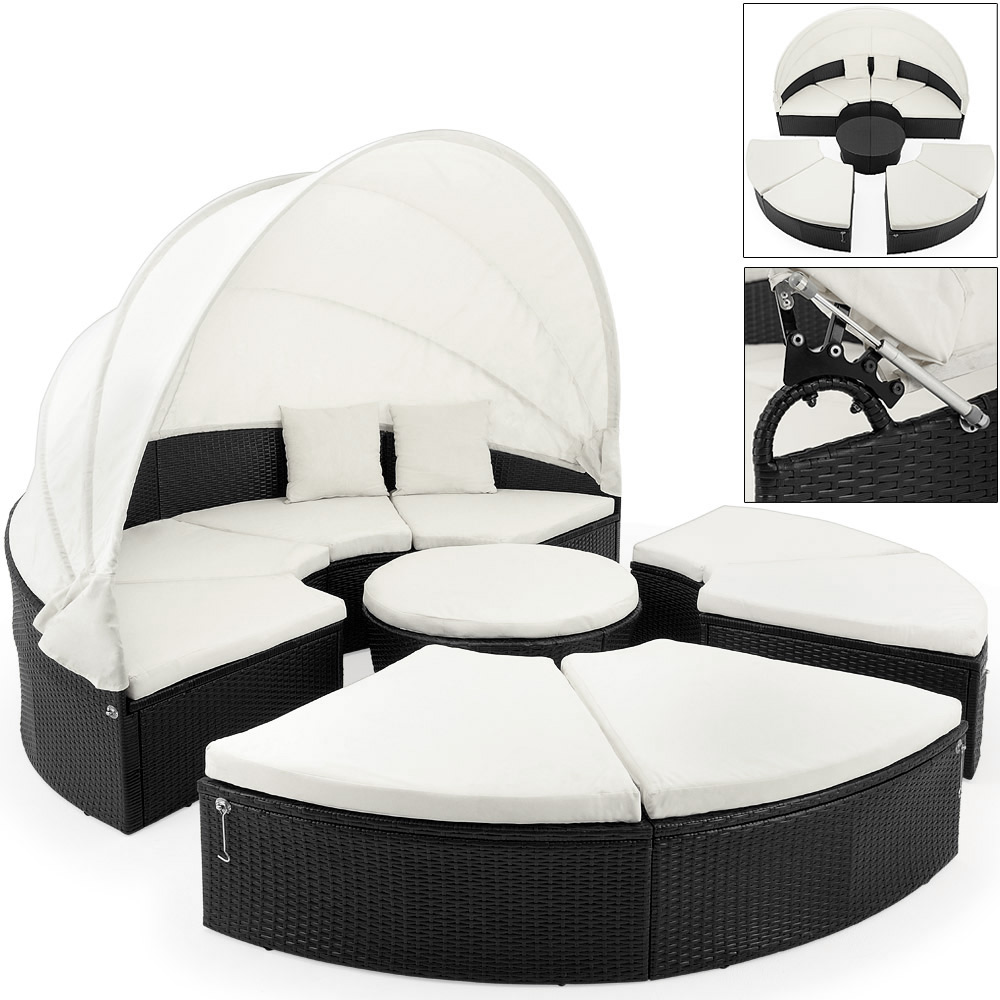 rattan garden bed 230 cm folding canopy garden sofa cushions outdoor seat ebay. Black Bedroom Furniture Sets. Home Design Ideas