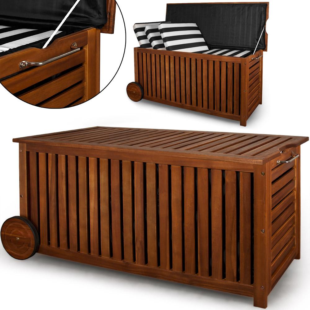 rollbar 117cm Akazie Holz Schatzkiste Kiste Auflagenbox Box  eBay