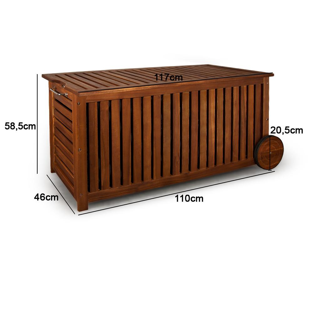 Jago Gartenmobel Erfahrung :  rollbar 117cm Akazie Holz Schatzkiste Kiste Auflagenbox Box  eBay
