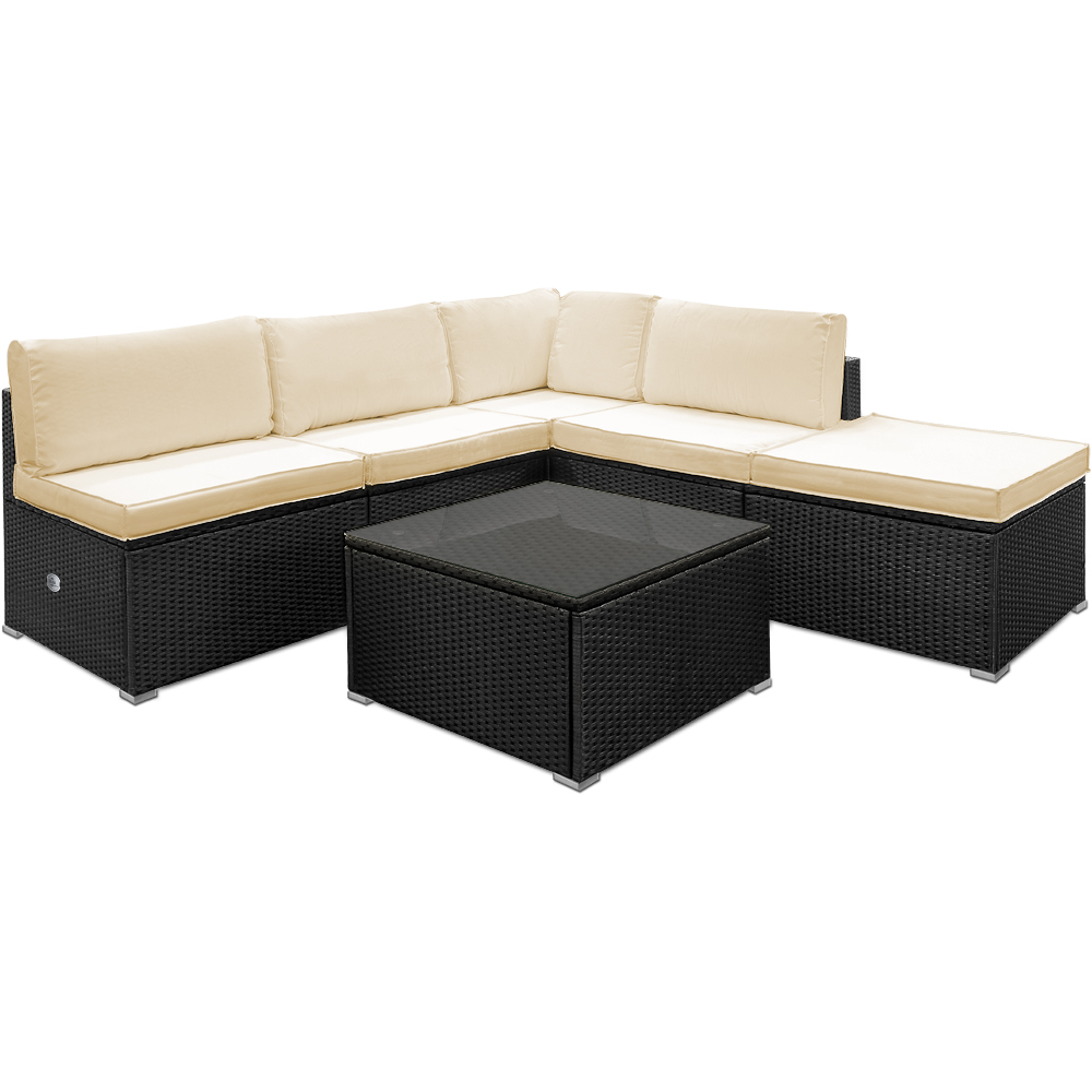 b ware polyrattan lounge set sitzgarnitur couch garten aus leichtem aluminium ebay. Black Bedroom Furniture Sets. Home Design Ideas