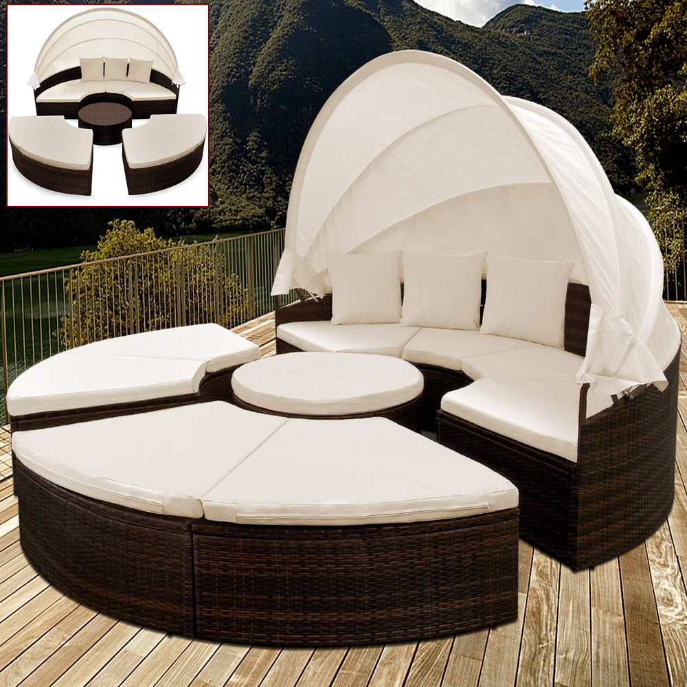 rattan day bed garden outdoor lounge patio wicker sunlounger sun roof canopy ebay. Black Bedroom Furniture Sets. Home Design Ideas