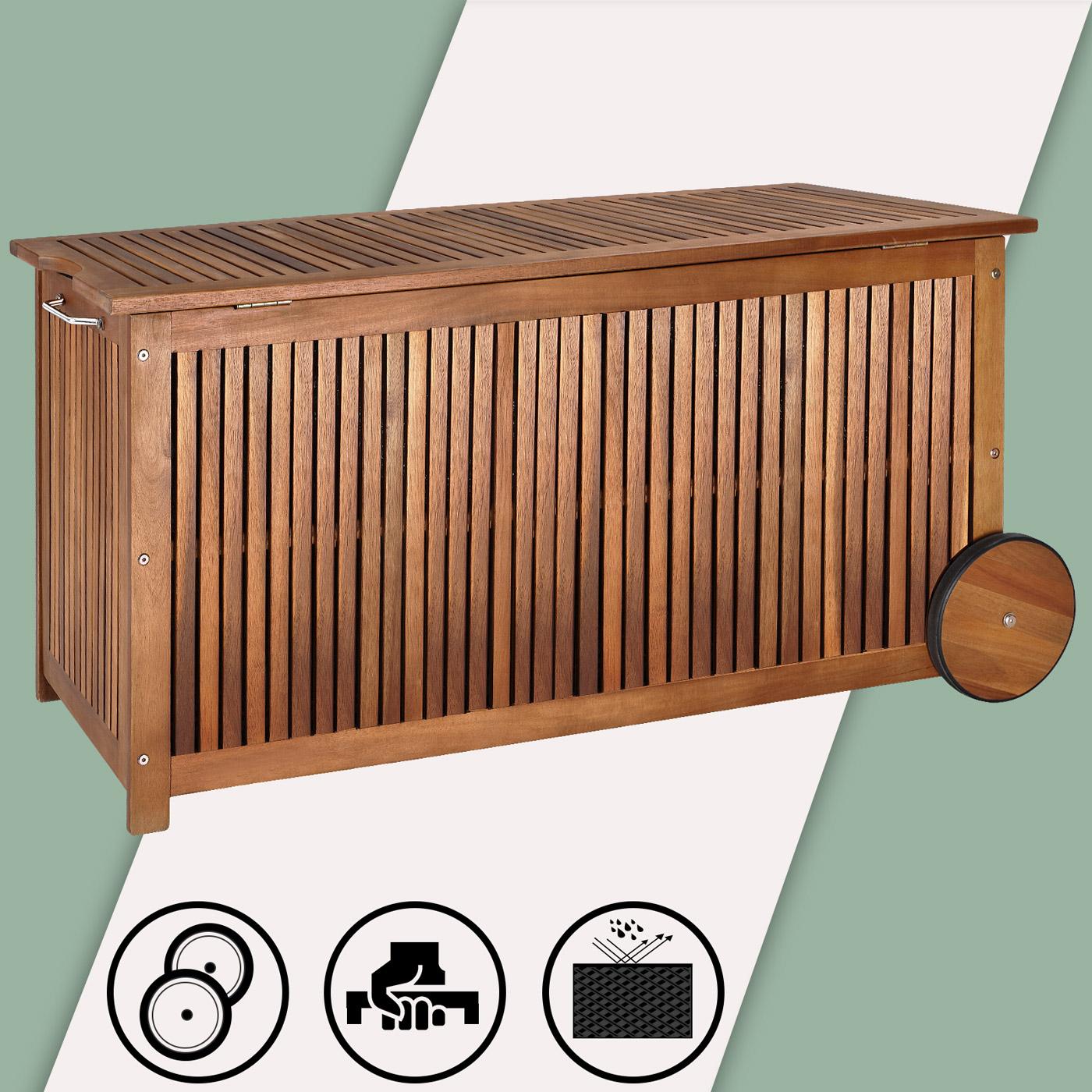 wooden cushion box wheels 117cm acacia wood outdoor patio garden storage chest ebay. Black Bedroom Furniture Sets. Home Design Ideas