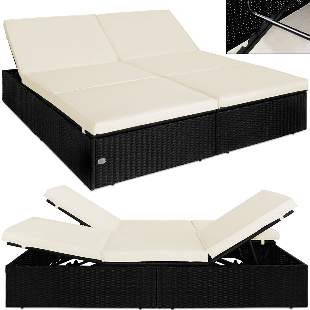 rattan sun lounger double sun bed deck chair garden lounger black adjustable ebay. Black Bedroom Furniture Sets. Home Design Ideas