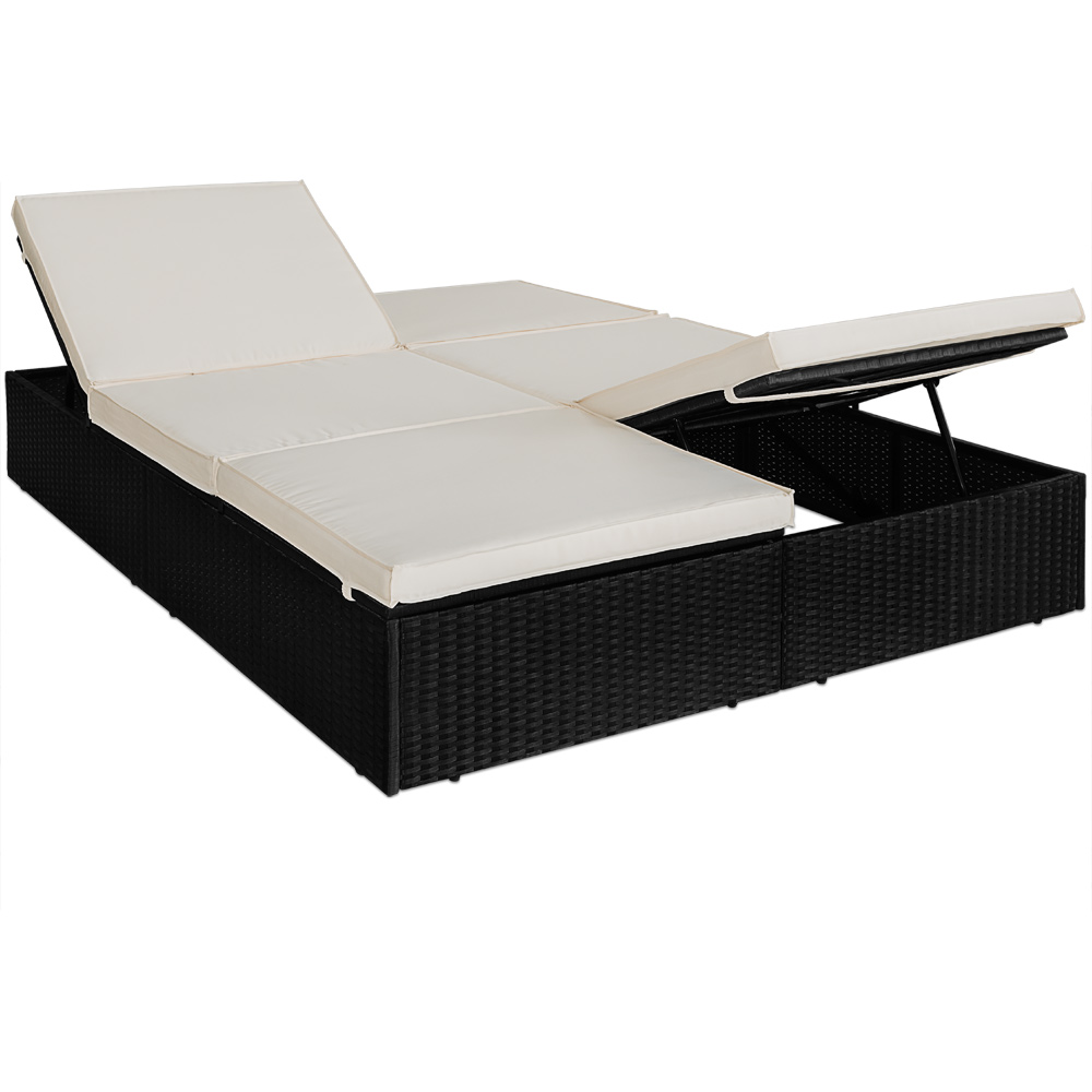chaise longue transat 2 places jardin r glable en. Black Bedroom Furniture Sets. Home Design Ideas