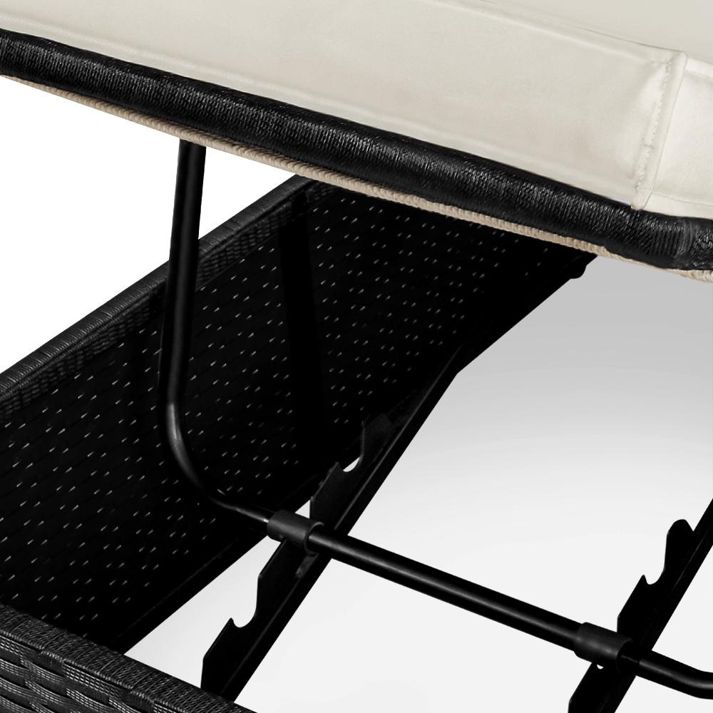 chaise longue transat 2 places jardin r glable en polyrotin 193cm canap jardin ebay. Black Bedroom Furniture Sets. Home Design Ideas